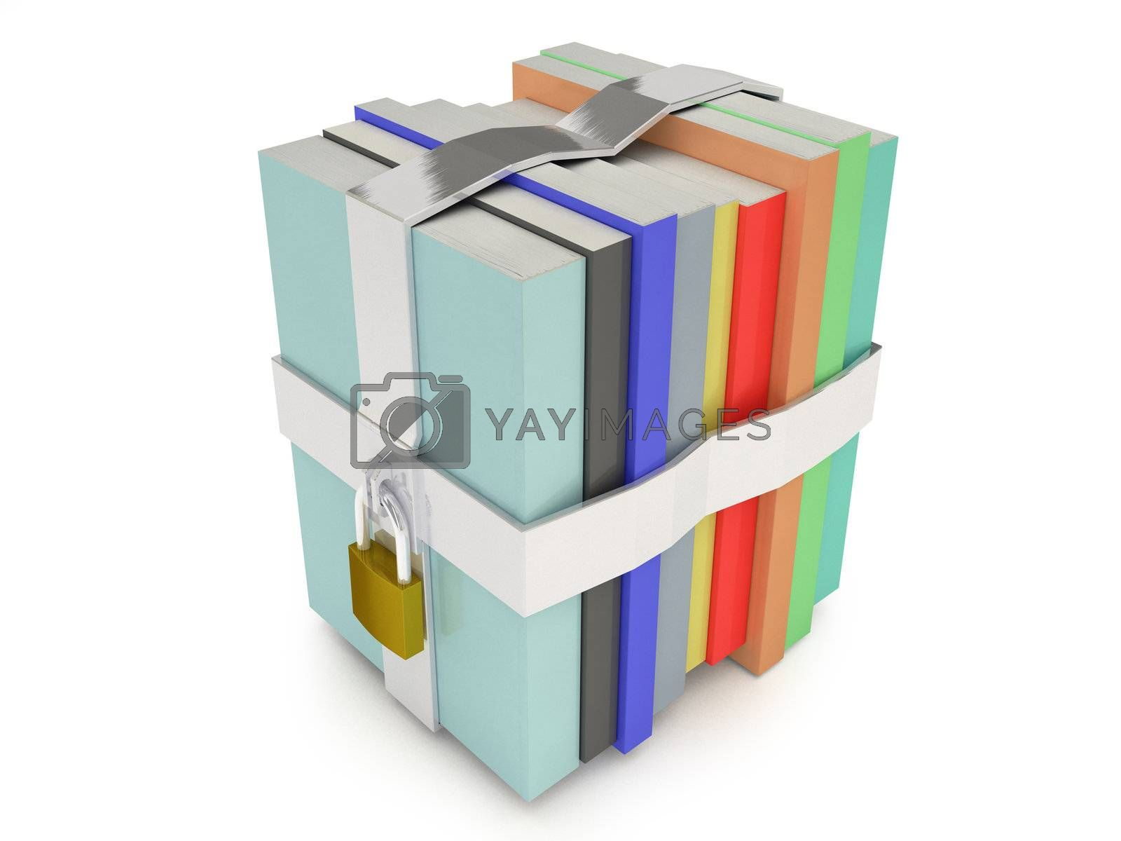 Line of books locked with a white background