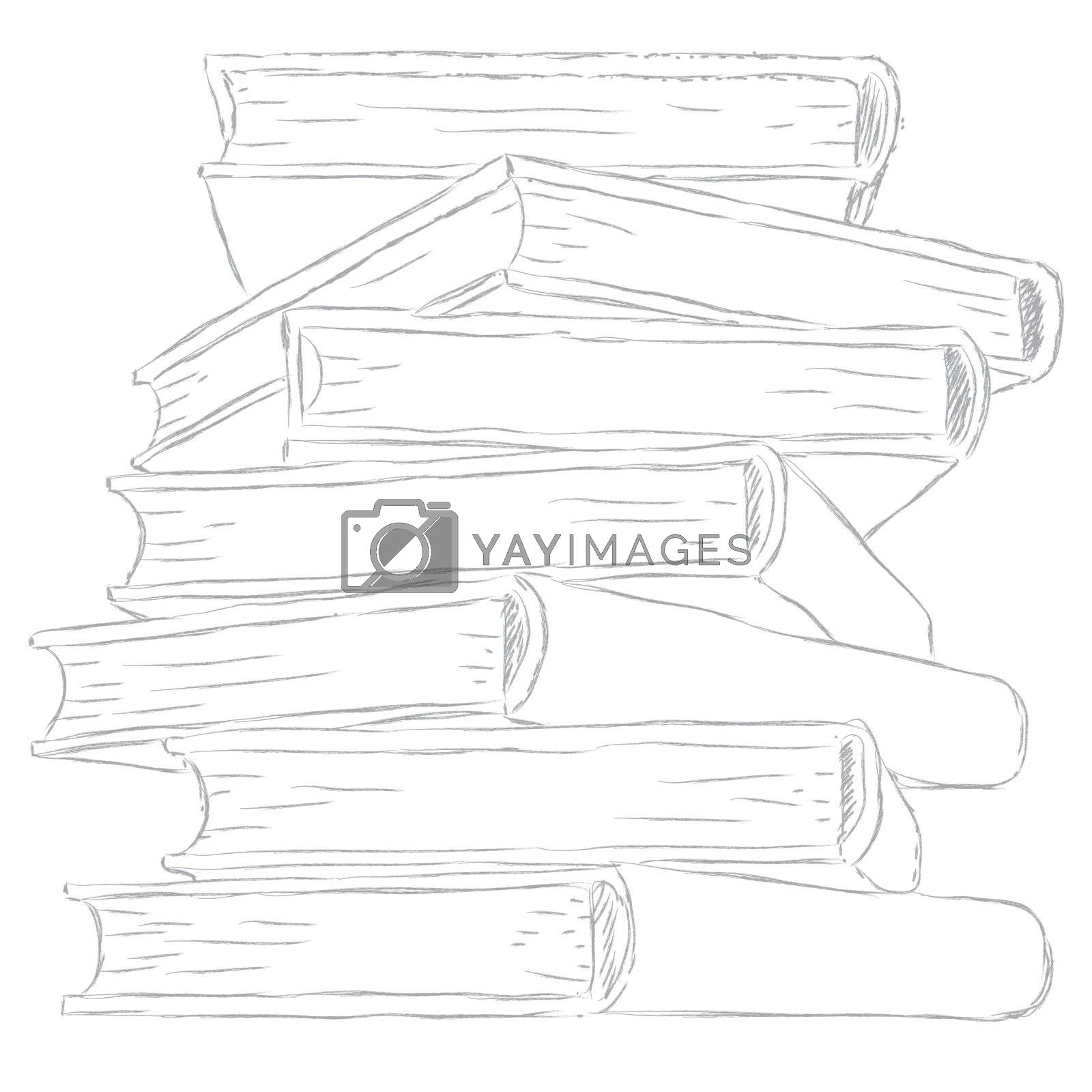 sketch  pile of books - isolated on white background