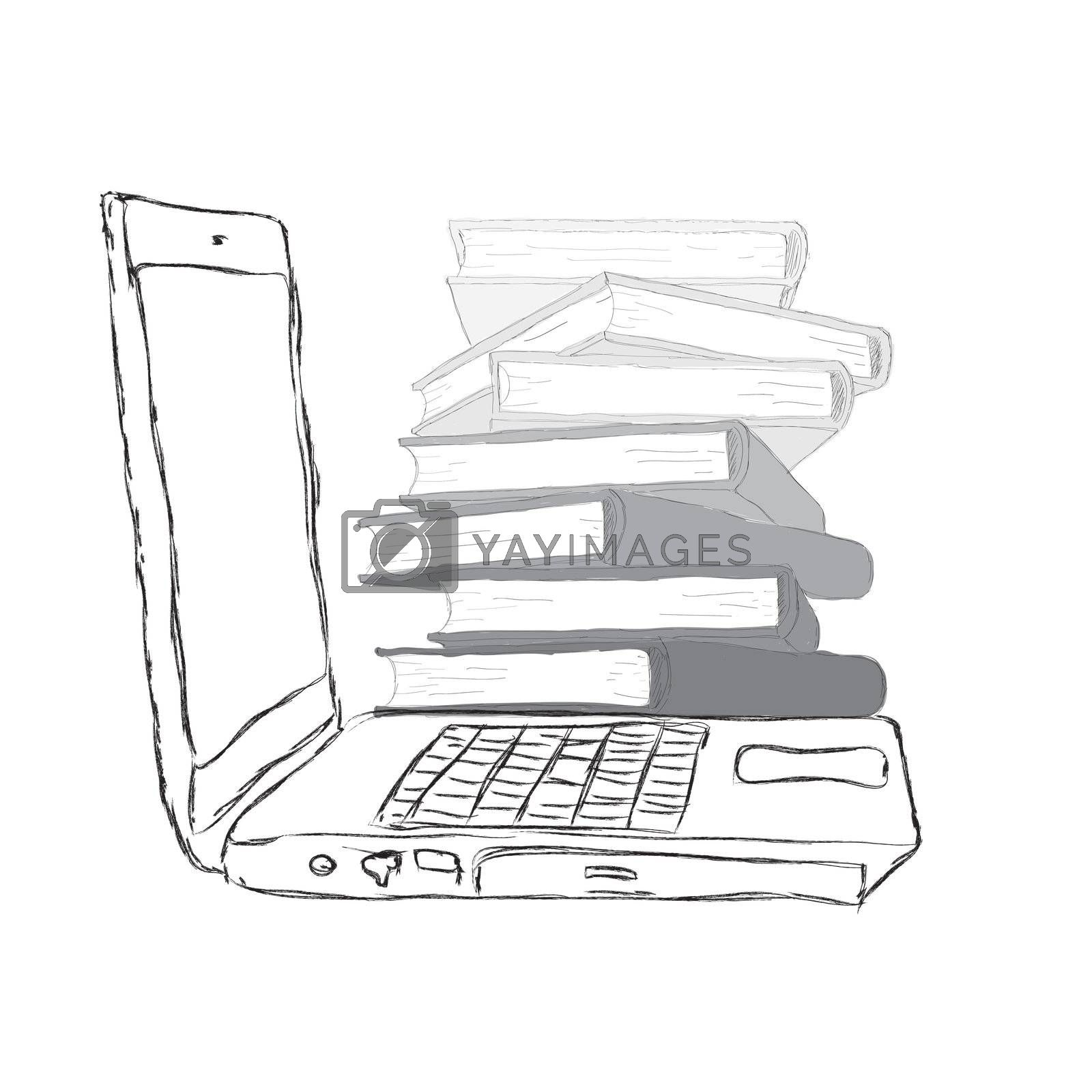 sketch Laptop with books and blank display