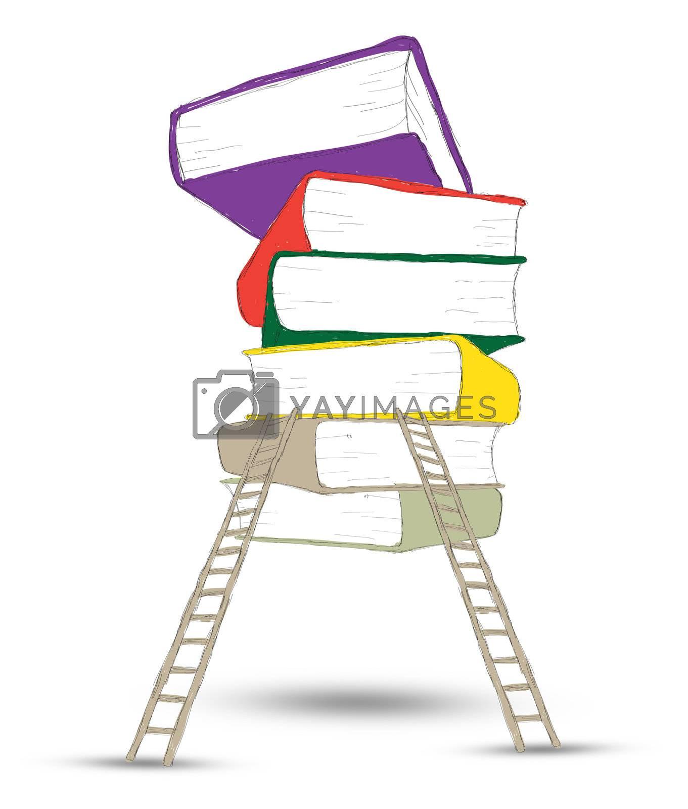 Wooden ladder standing near books pile