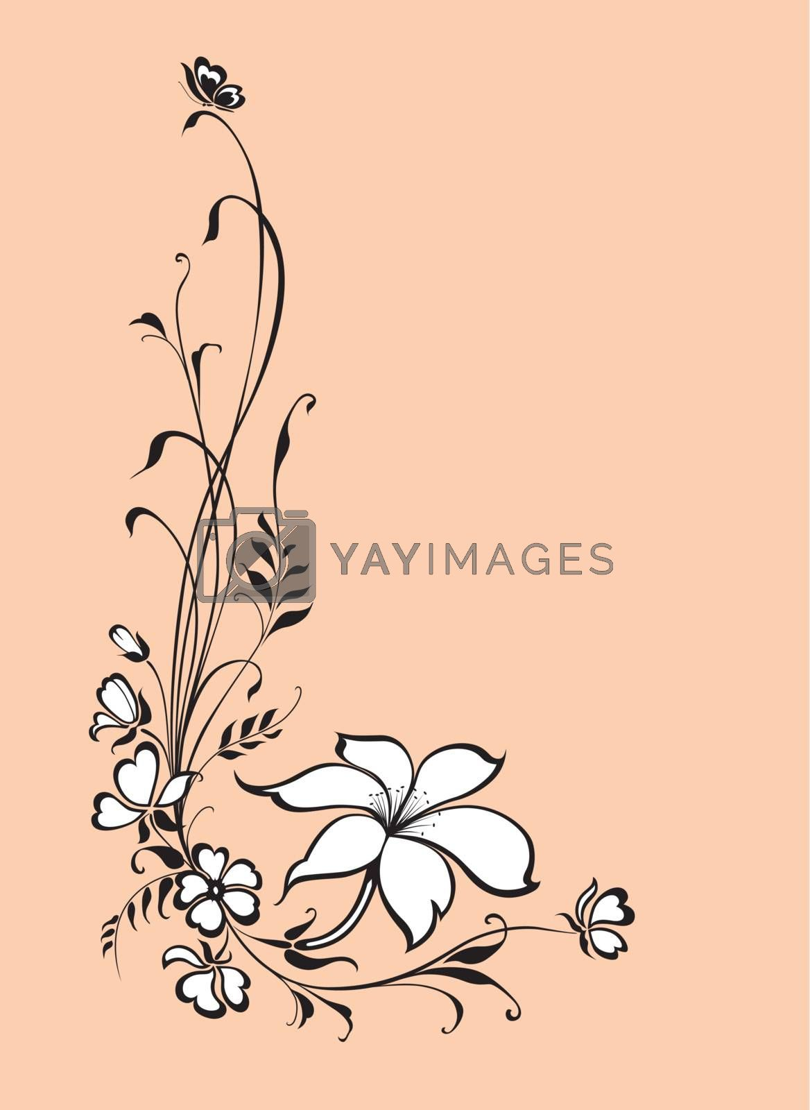 floral vector background with lily flower and butterfly