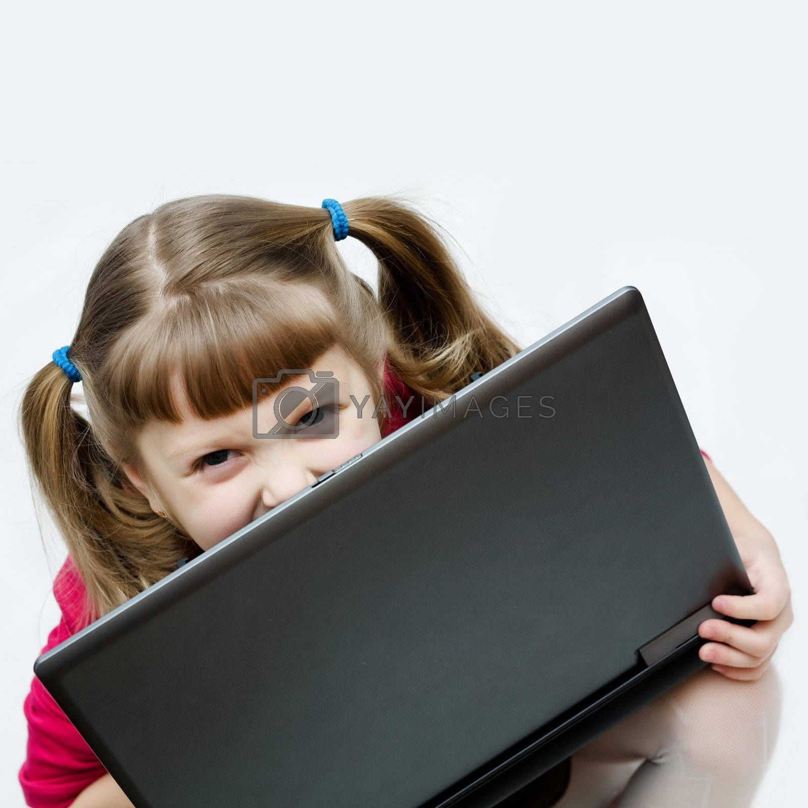 Stock photo: an image of a nice girl with laptop