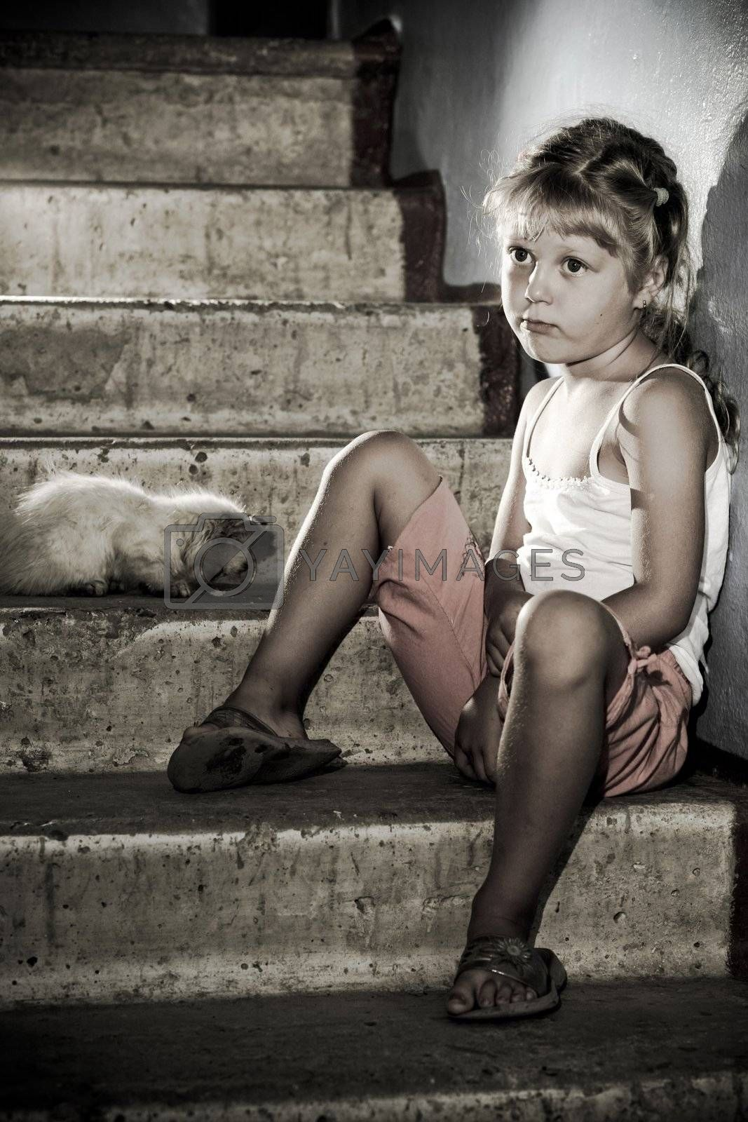 Little girl and kitten is sitting on stairs