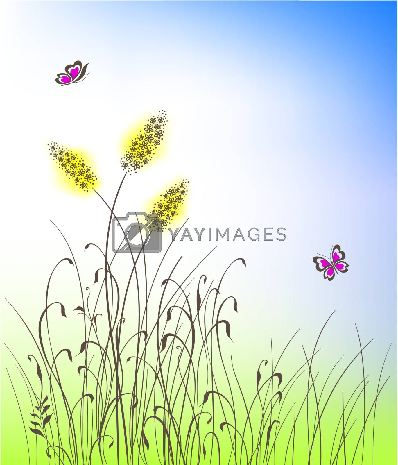 grass silhouettes background vector illustration