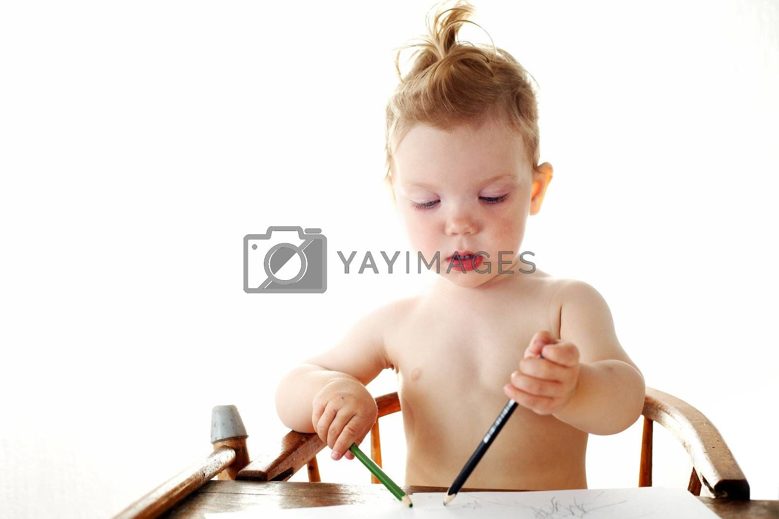 Baby-girl on white background with pencils