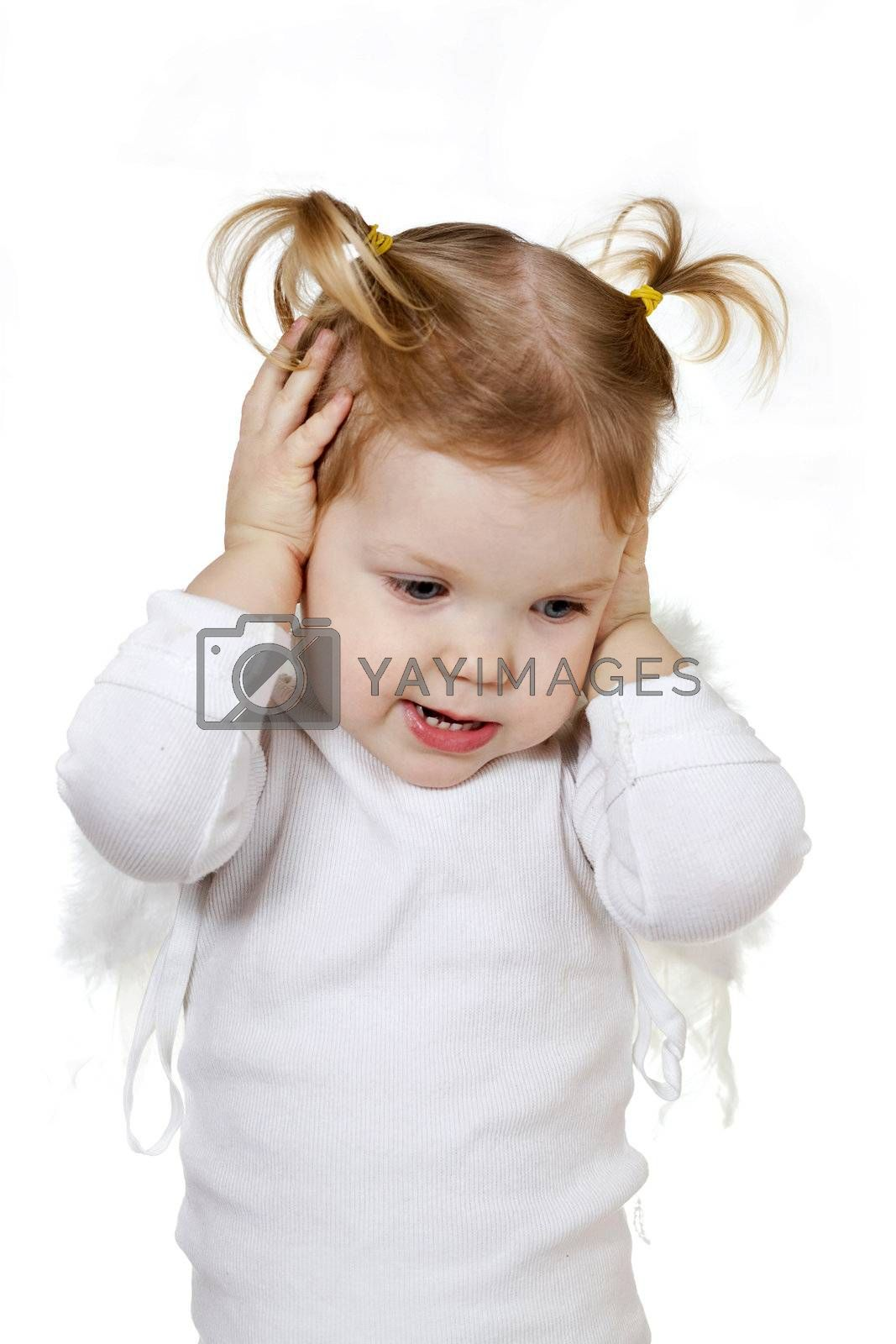 Stock photo: an image of a nice baby in white clothes