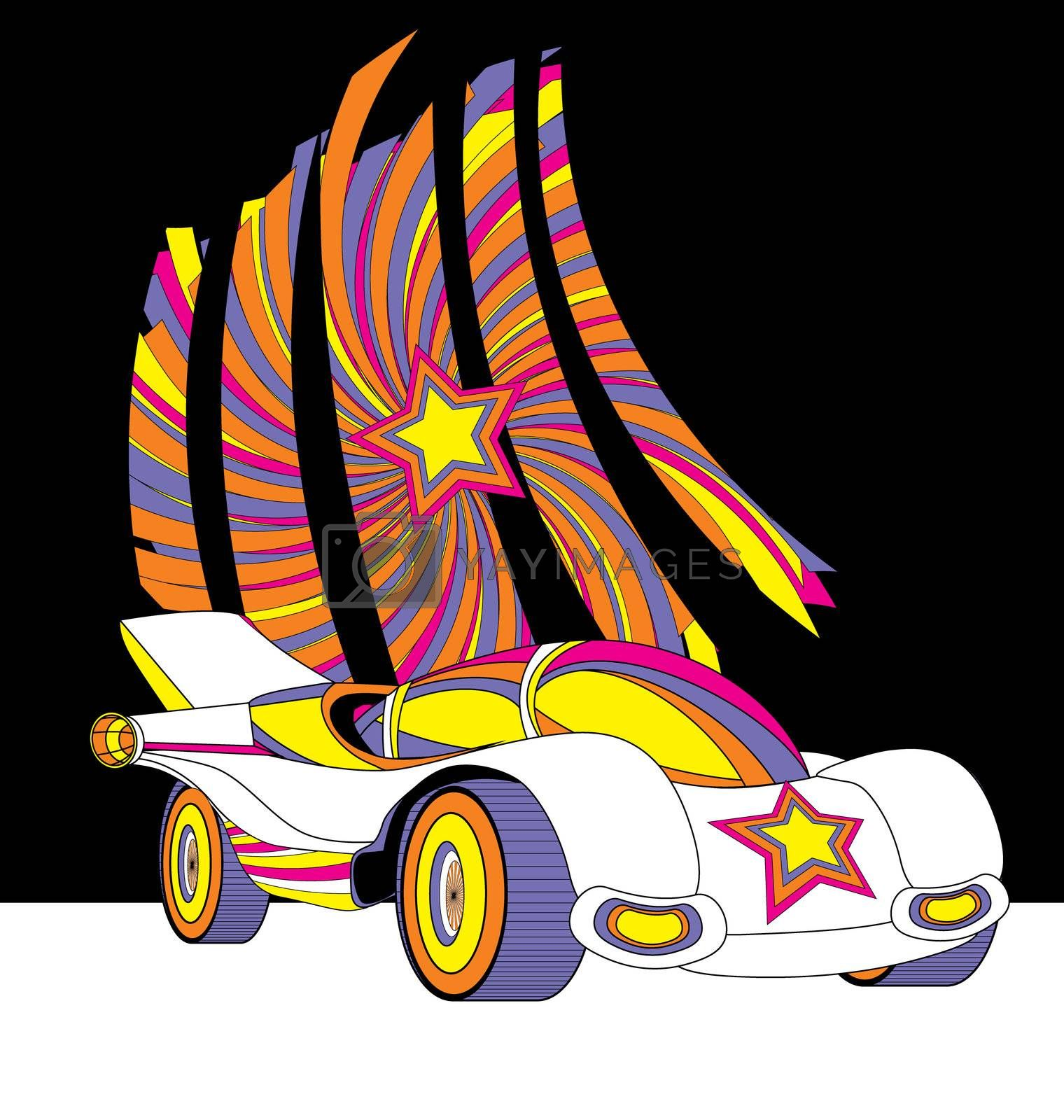 vector style race car with star decor colorful futuristic illustration