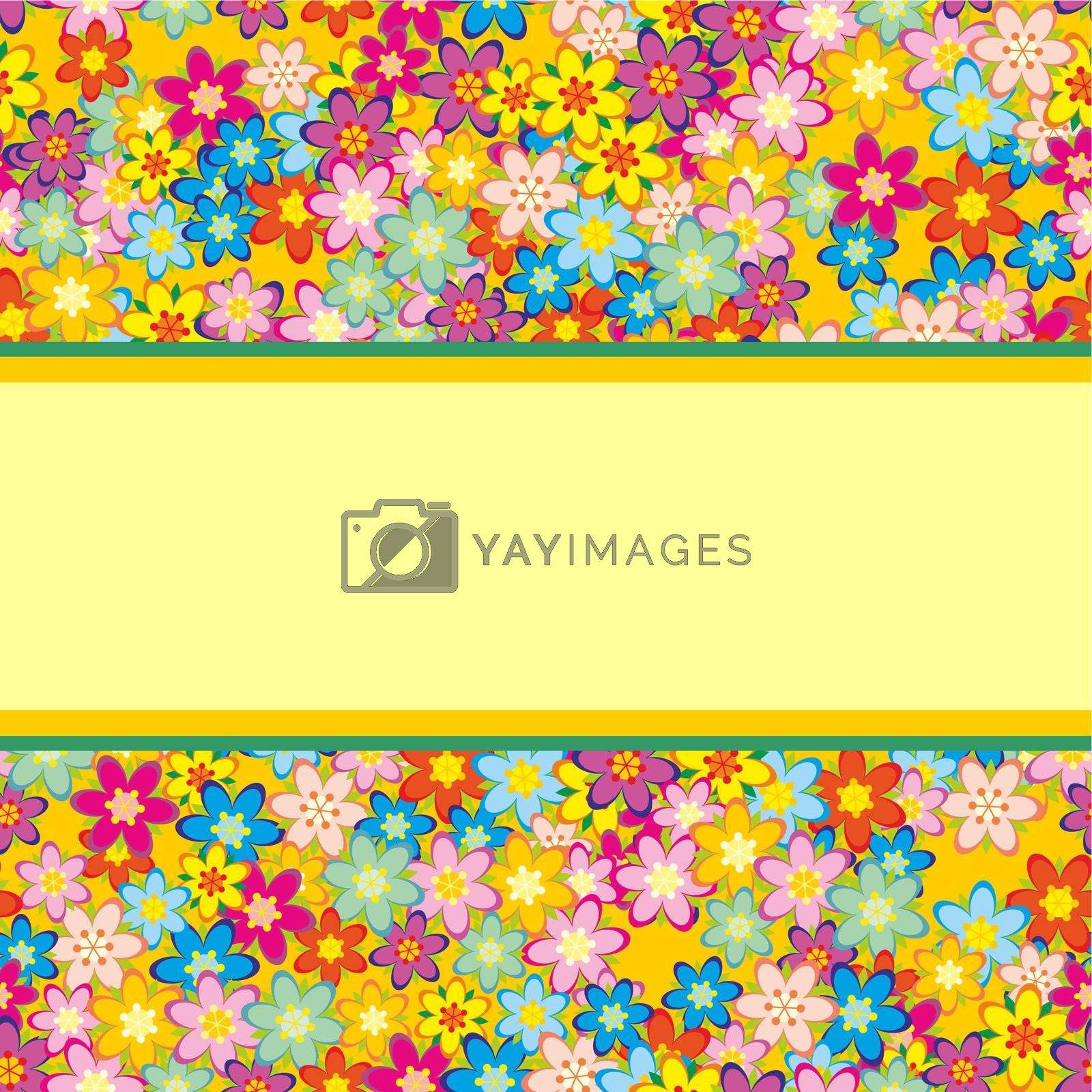 colorful vector flowers pattern with clear place background