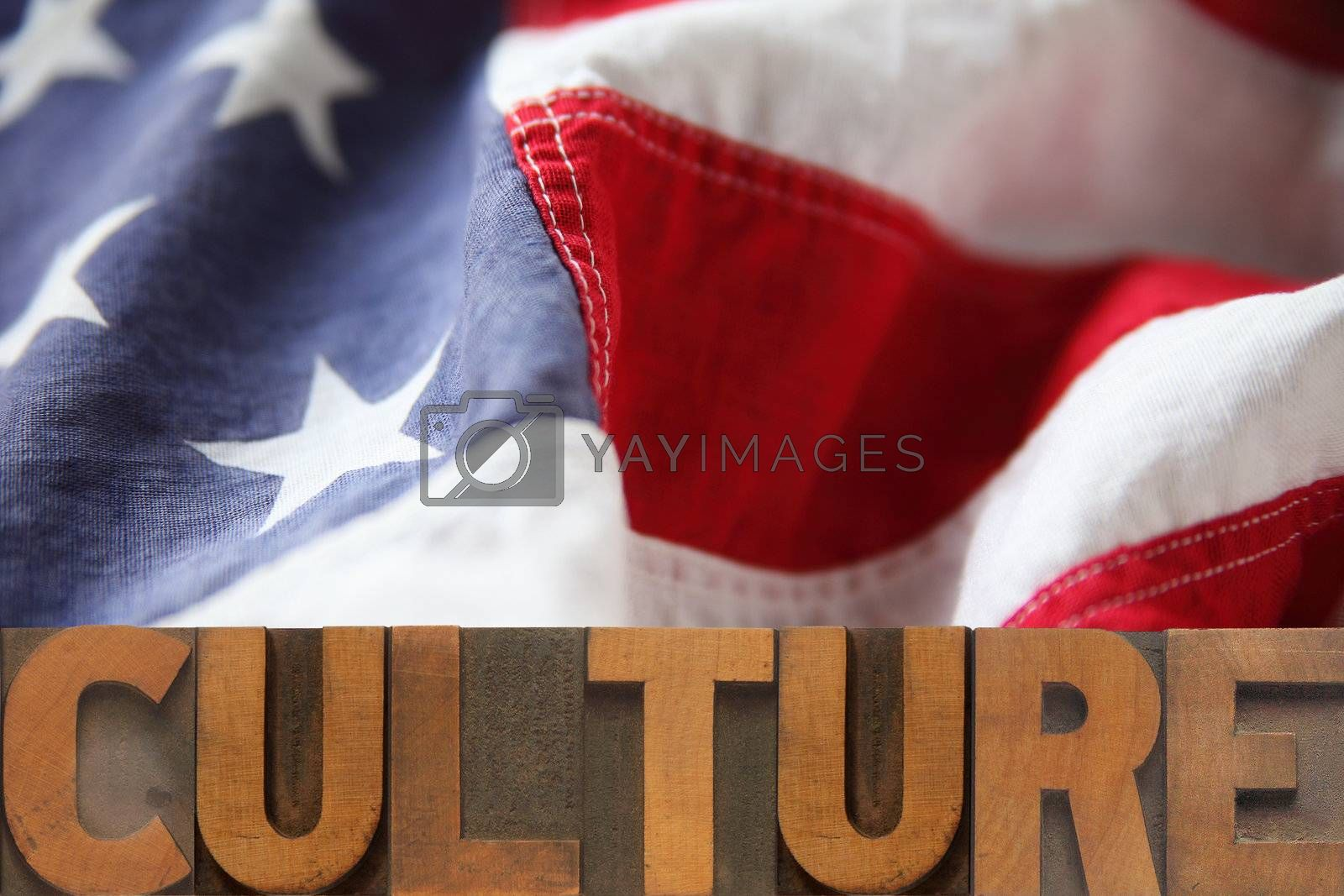 the word culture on an American flag background