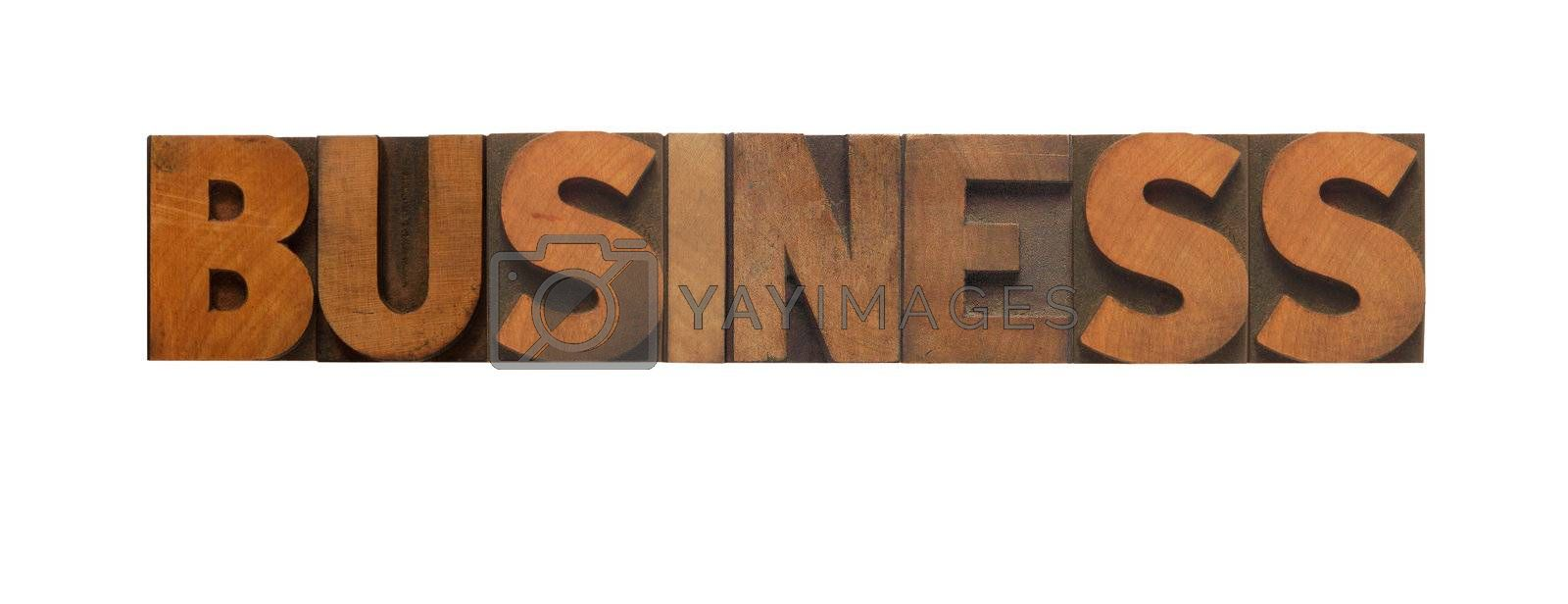 the word business in old wood type