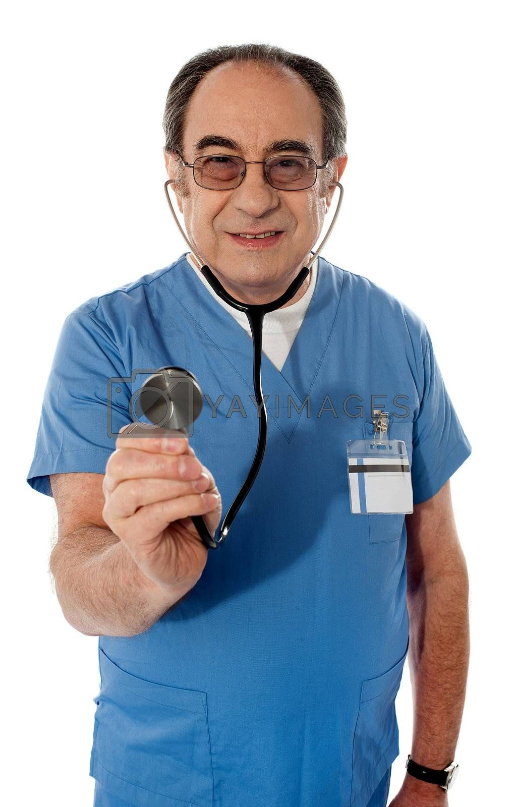 Senior specialist checking your heartbeats