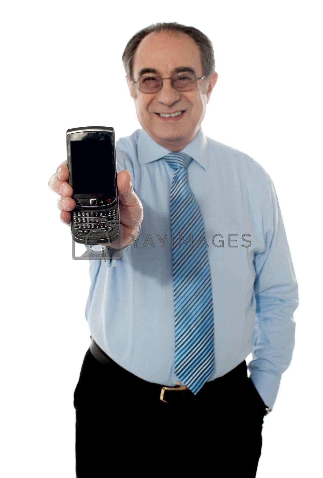Senior sales manager promoting blackberry isolated on white background