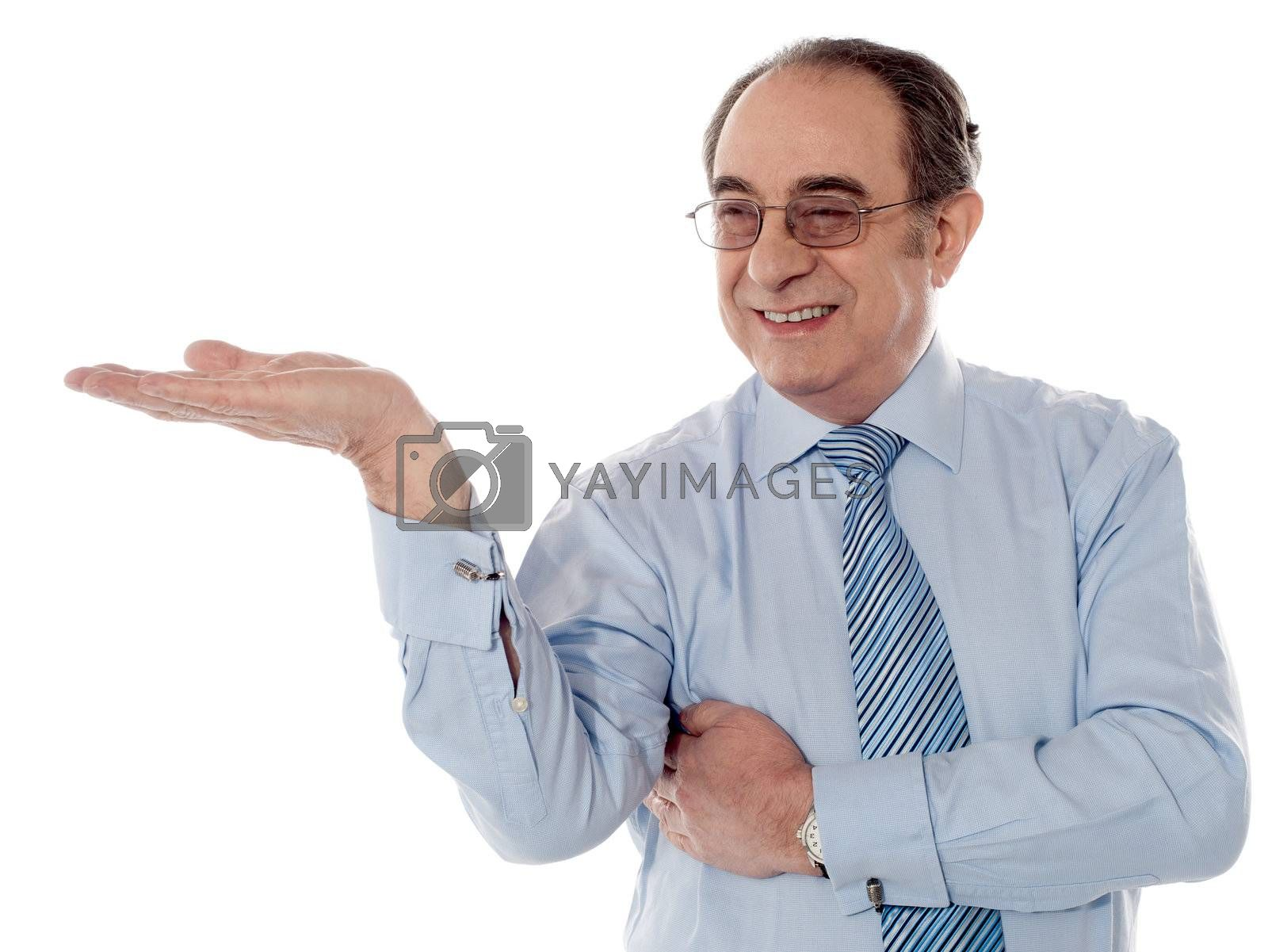 Boss posing with an open palm isolated on white