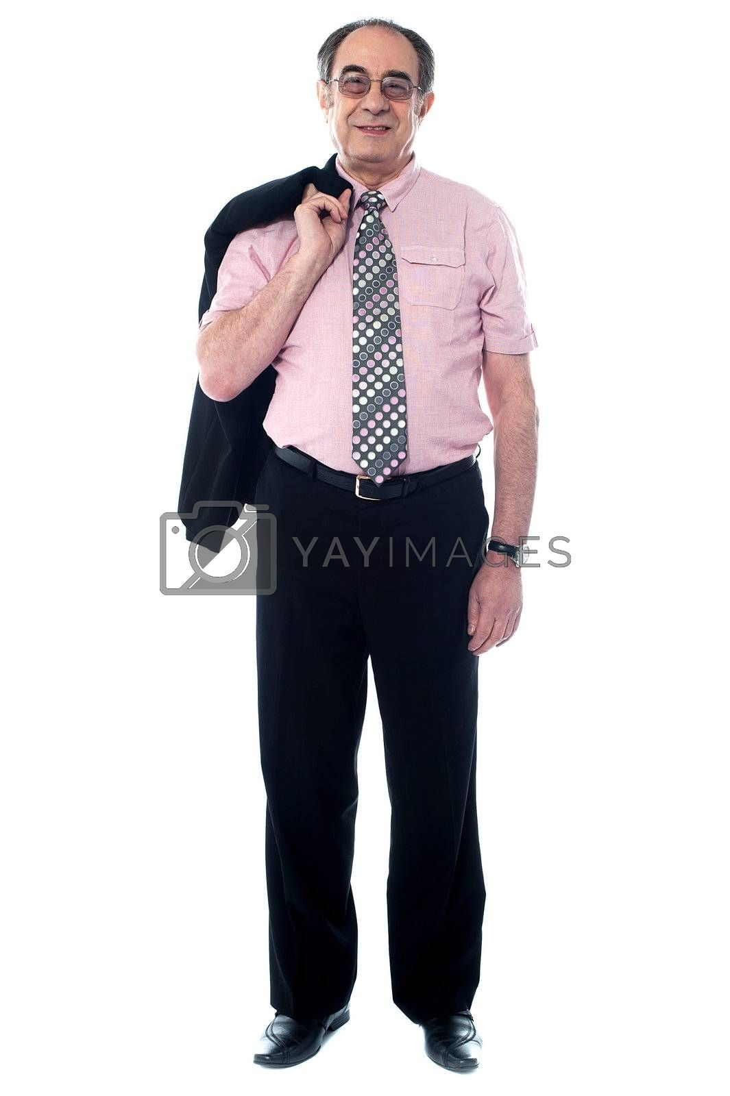 Portait of a professional businessman holding his coat isolated against white background