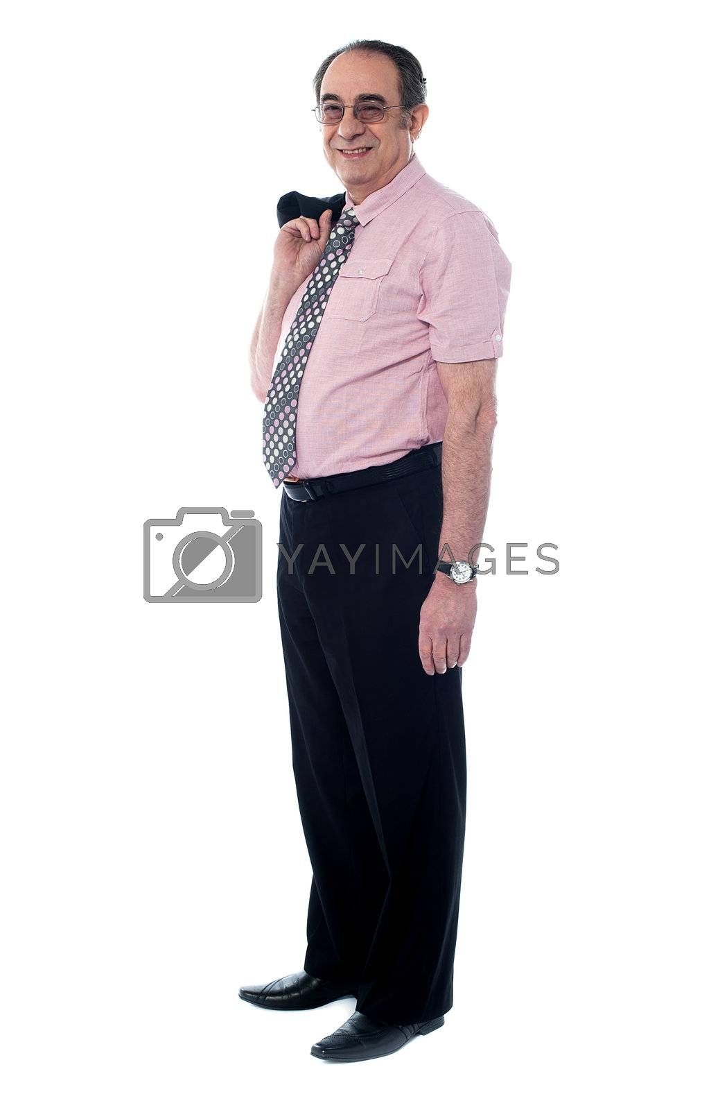Portait of a professional businessman holding his coat isolated on white