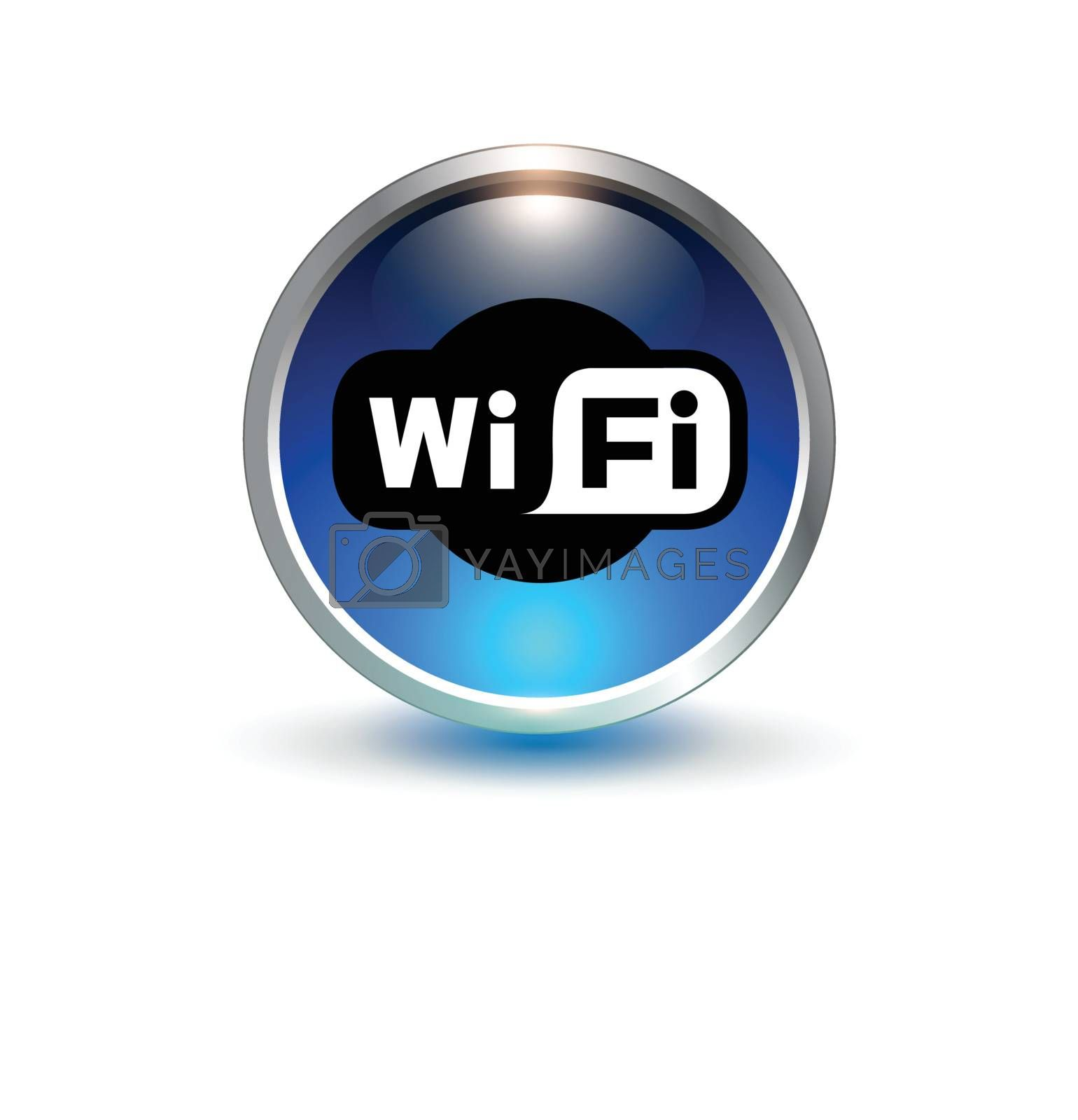 wifi blue symbol vector 3d button