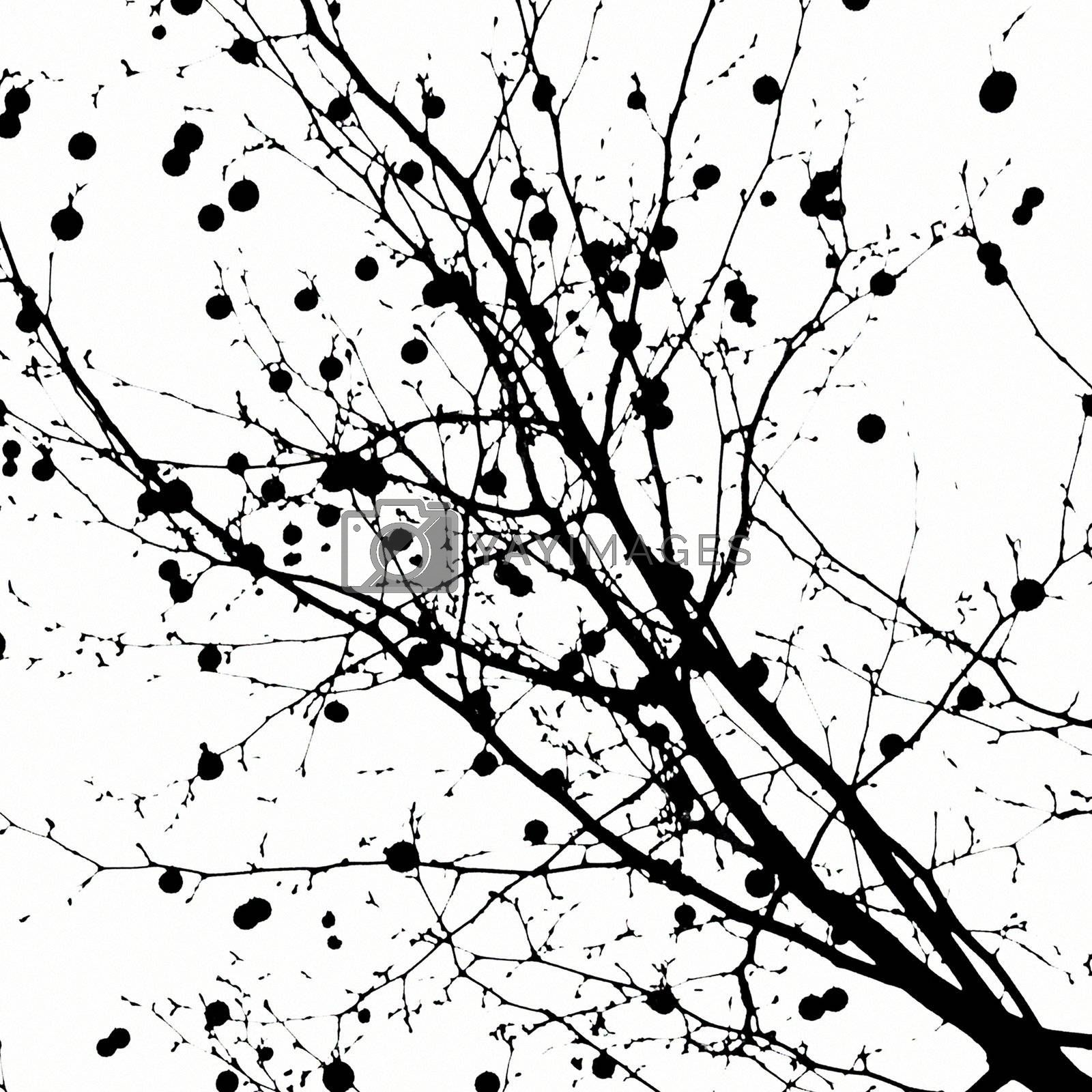 Silhouette of abstract ancient trees