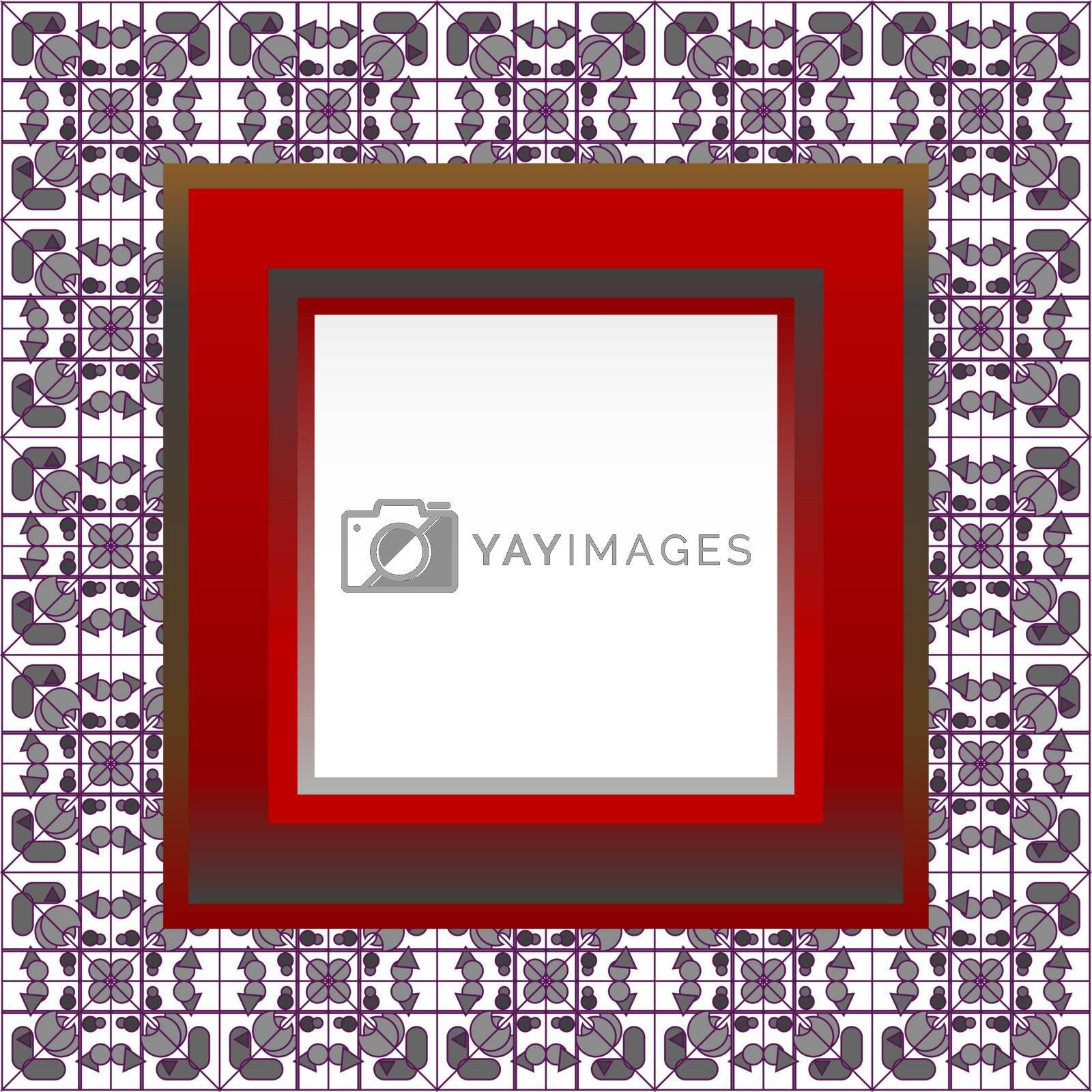Gallery Interior with empty frames on red wall. vector