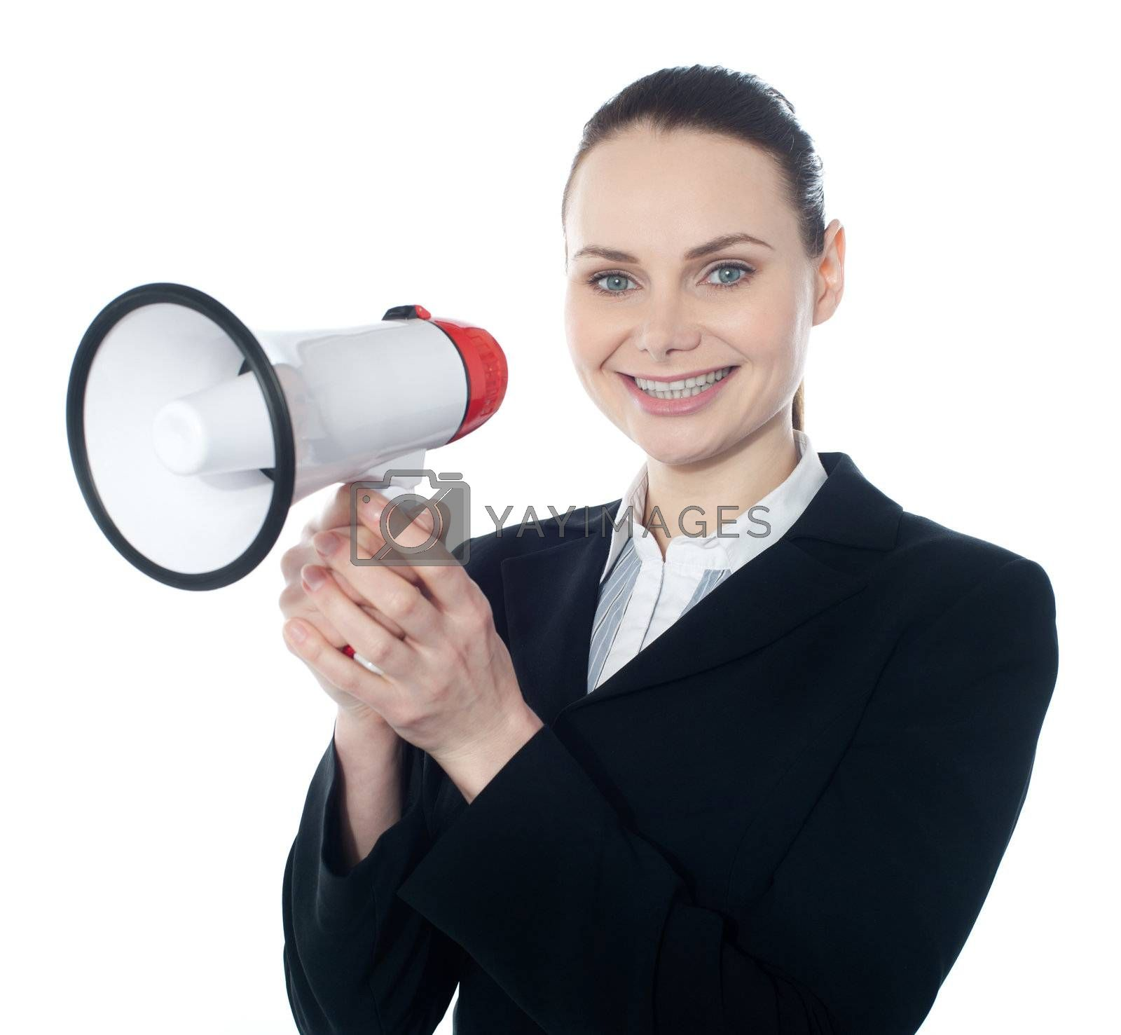 Attractive woman with megaphone isolated on white