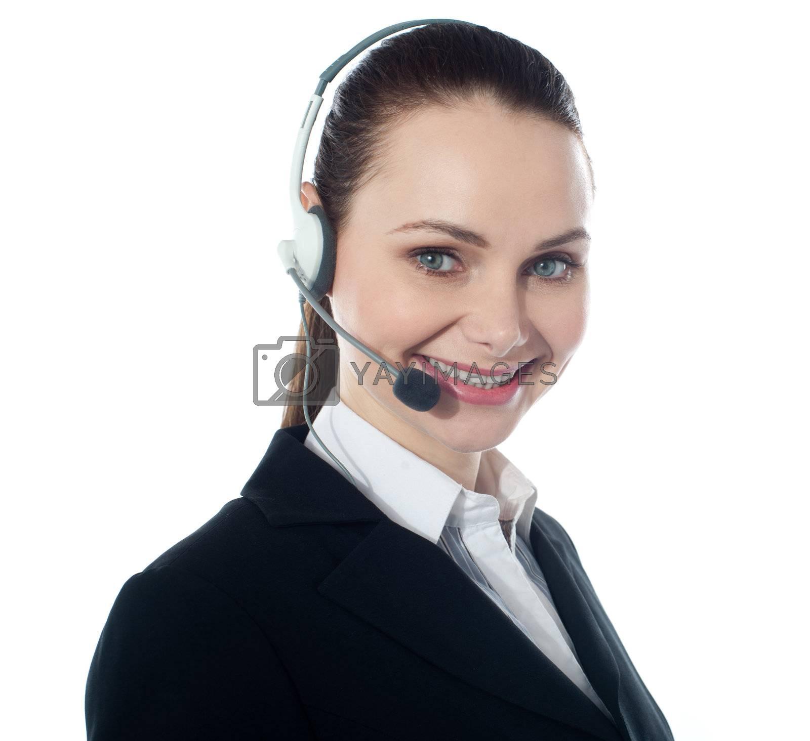 Call centre female executive, closeup. Isolated over white