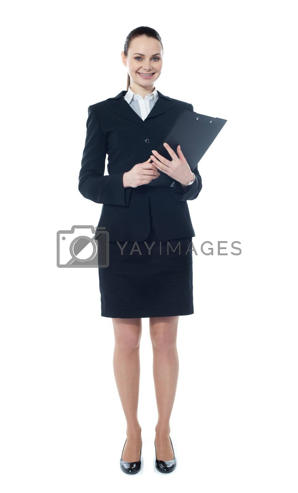 Young businesswoman with a document folder isolated over white