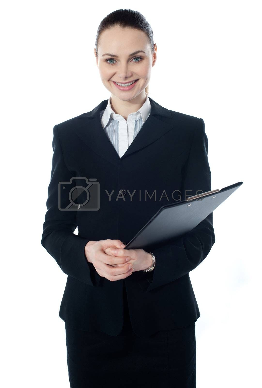 Smiling young businesswoman with folder, isolated on white