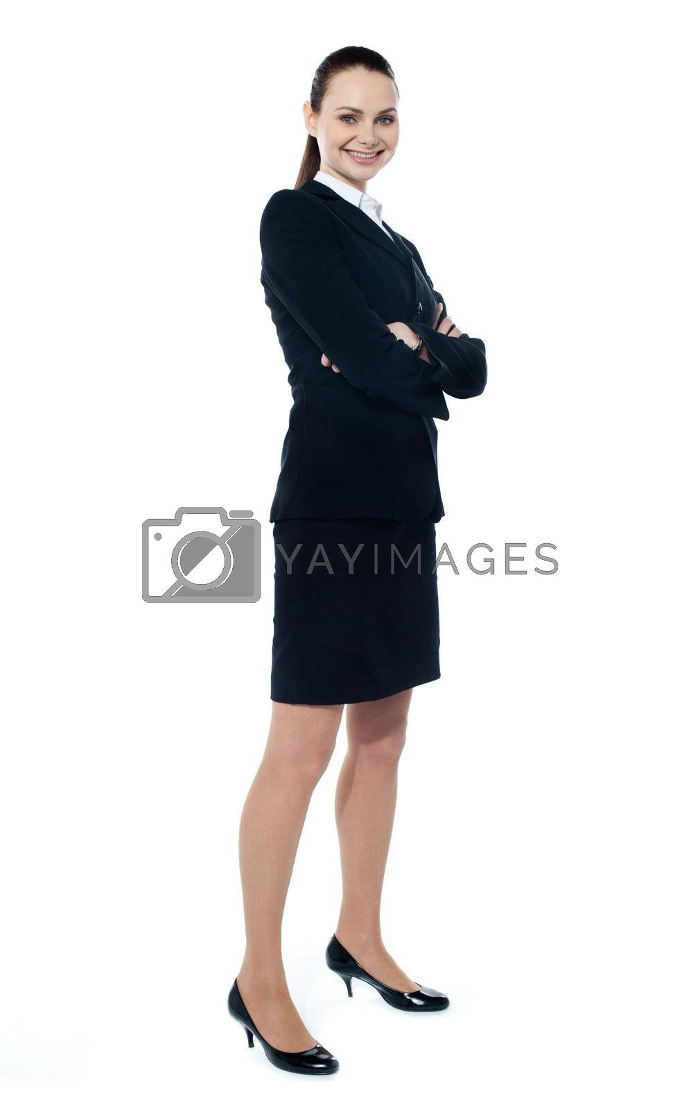 Confident ceo posing in style isolated over white