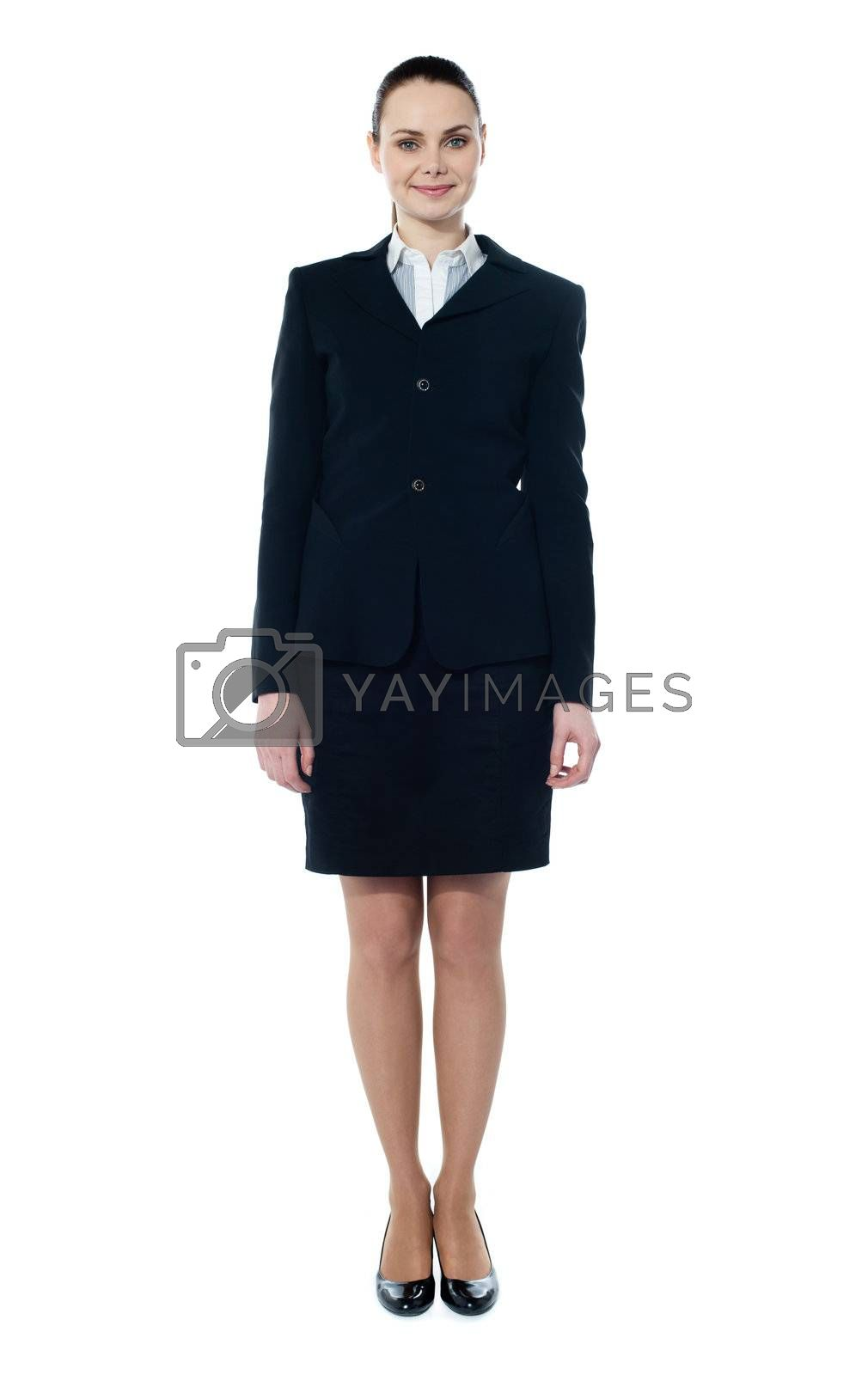 Businesswoman full body standing isolated on white