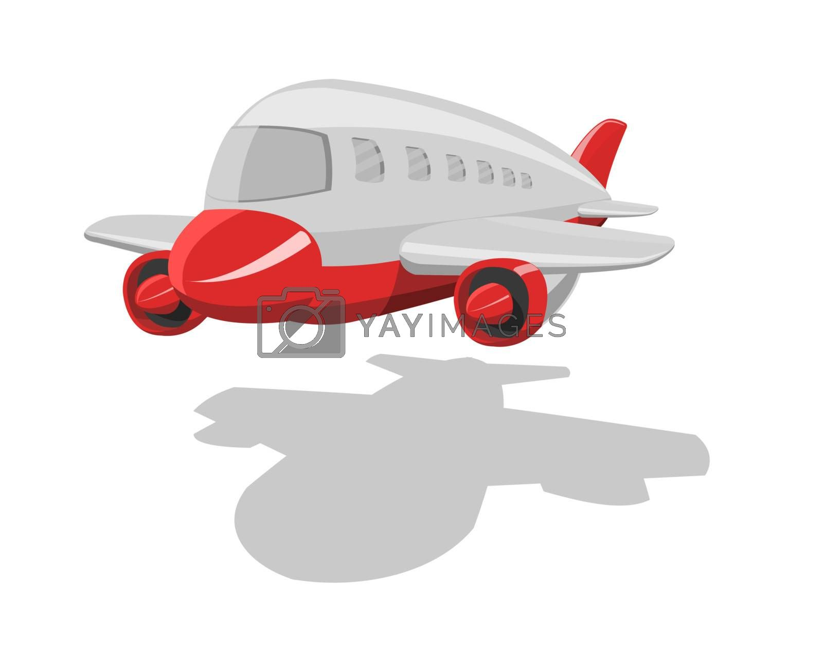 Vector cartoon airplane, isolated on white background