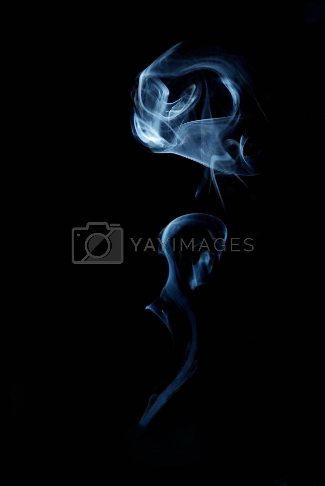 smoke like flowers in blue with black background