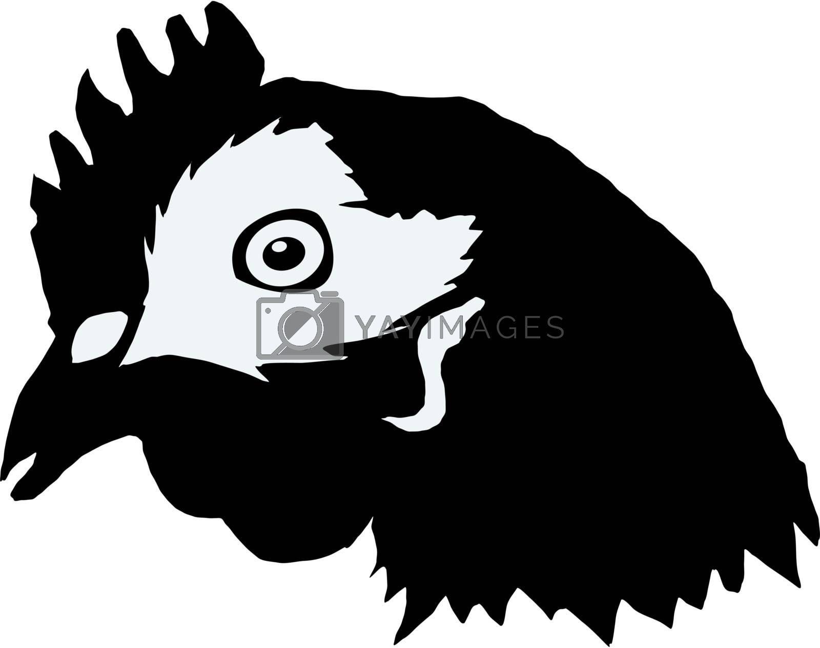 Illustration in style of black silhouette of hen