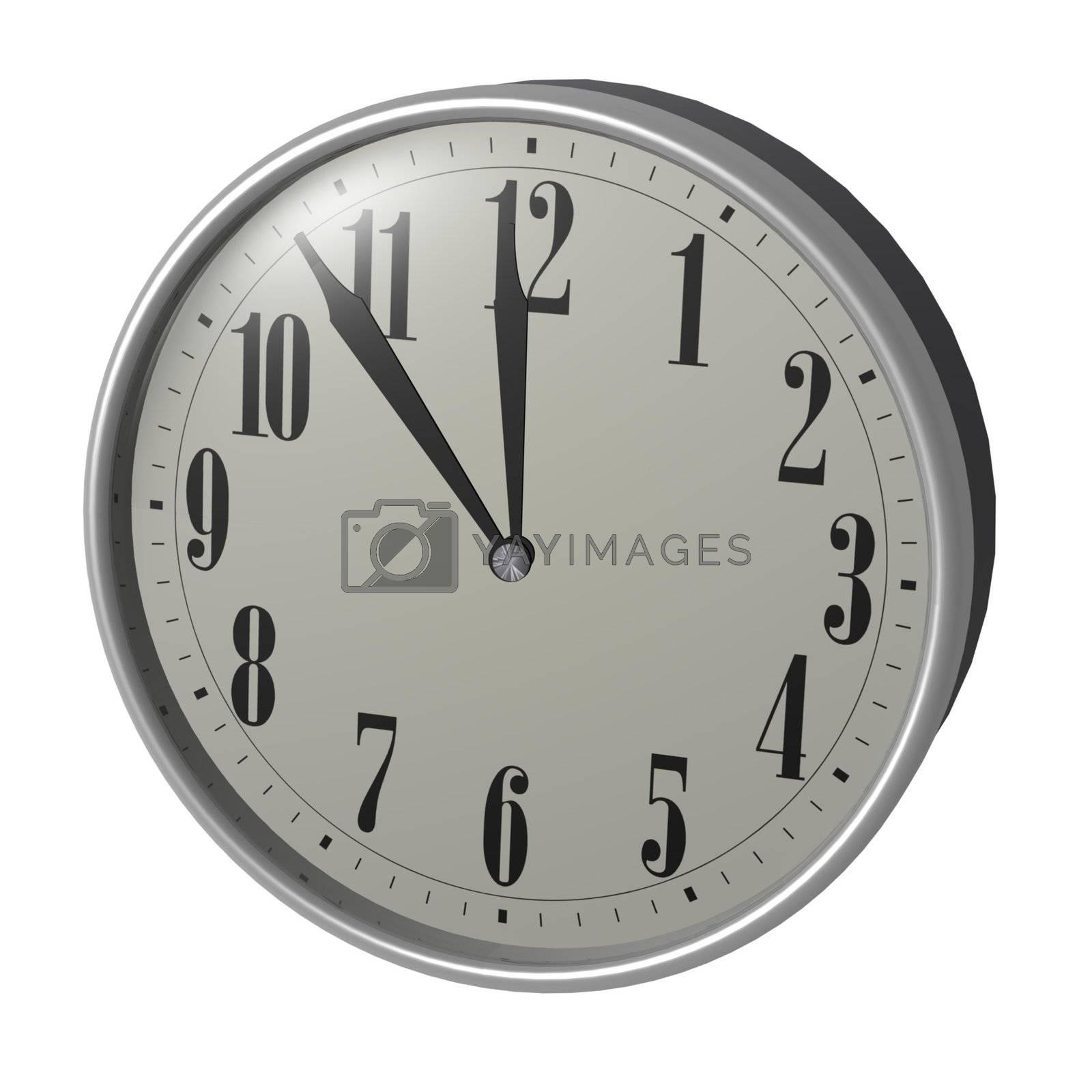 3D retro clock on white