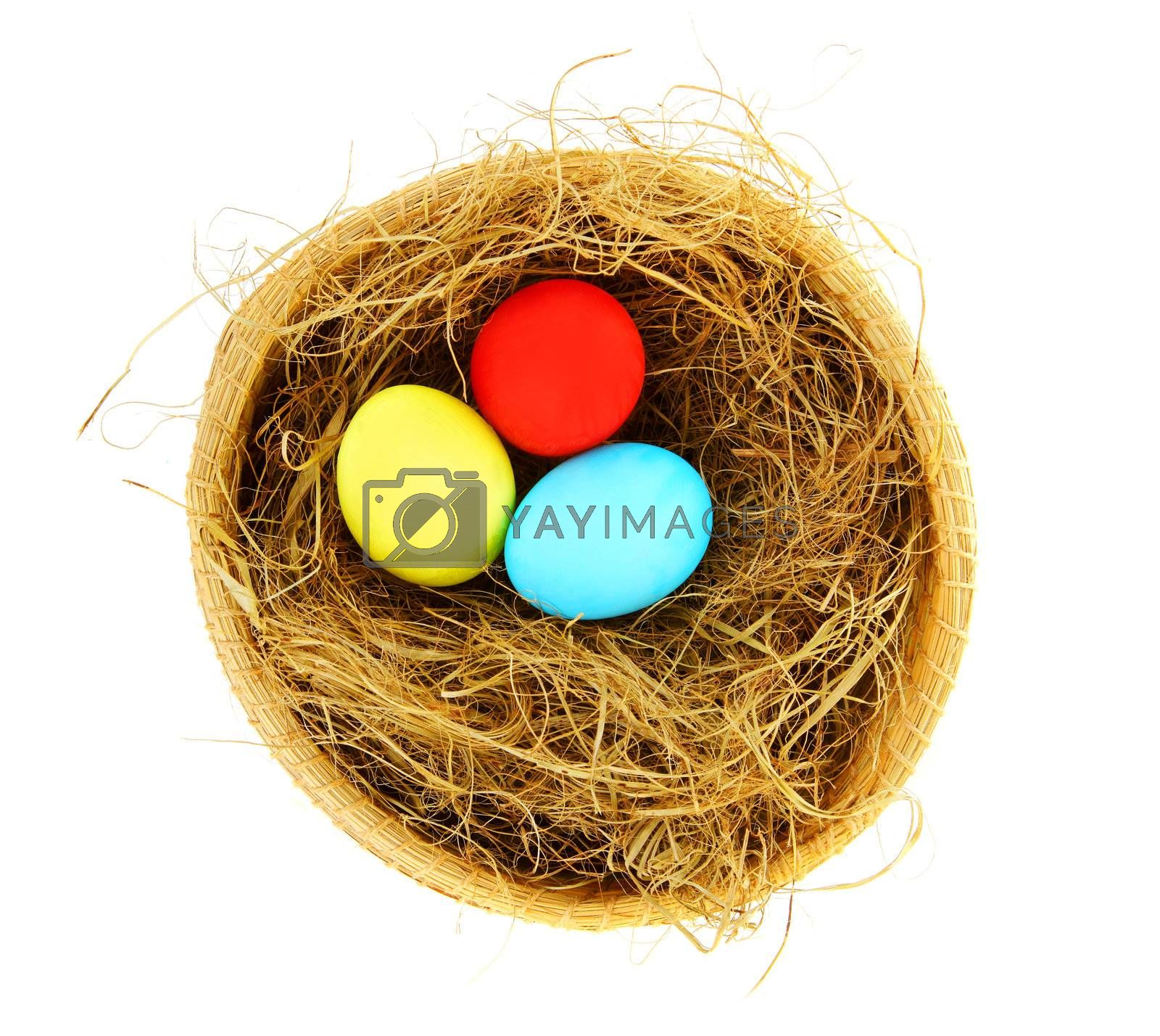 Easter colorful eggs with dry grass in the nest isolated on white background