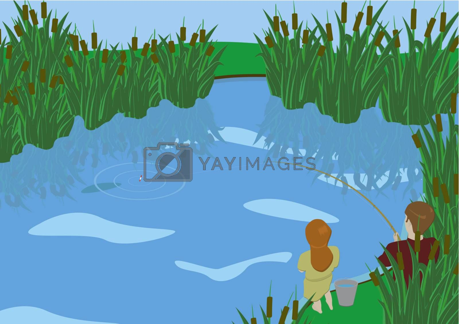 A young boy and girl fishing at the lake overgrown with reeds.