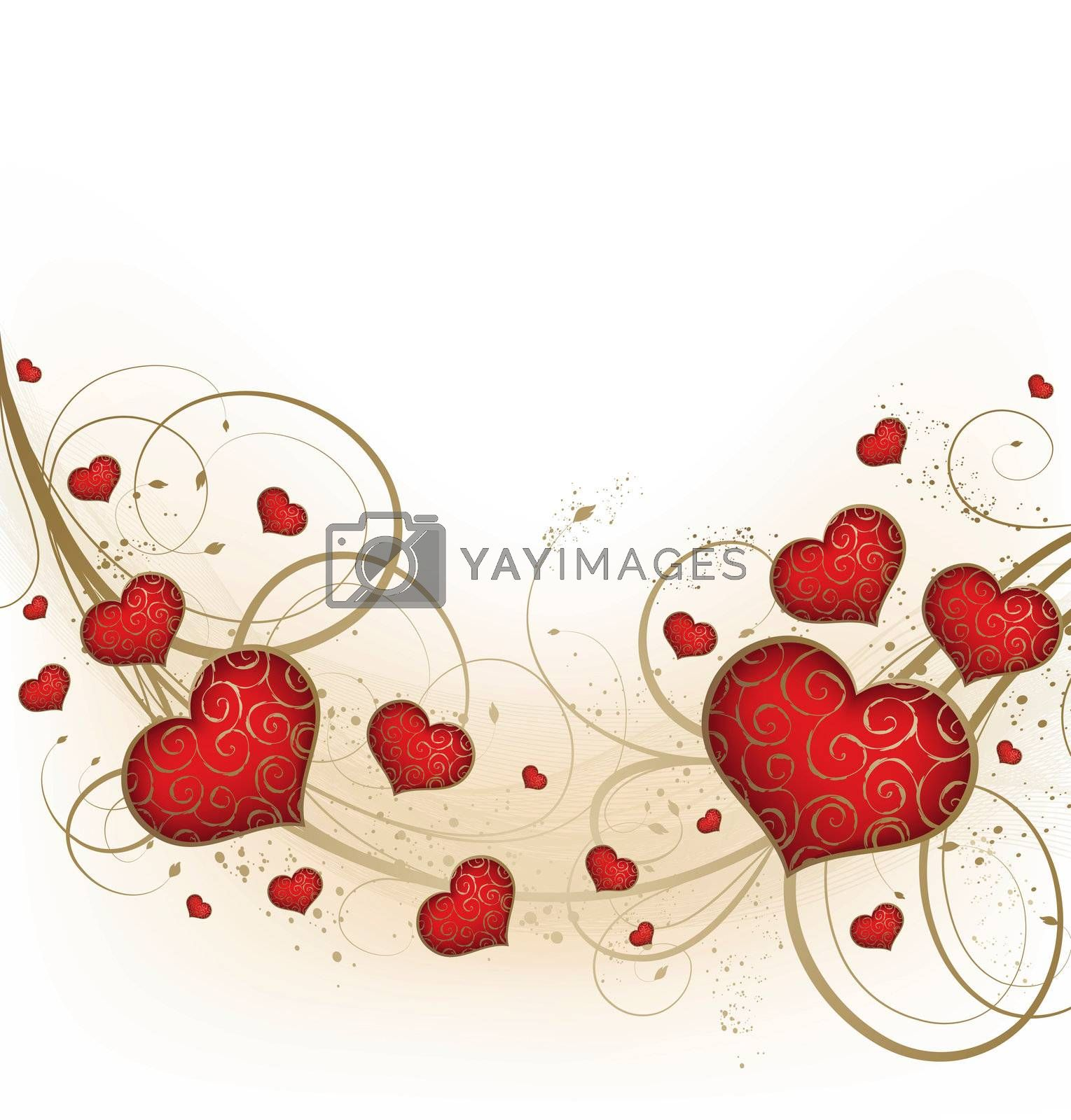 Valentines background with hearts and golden ornate