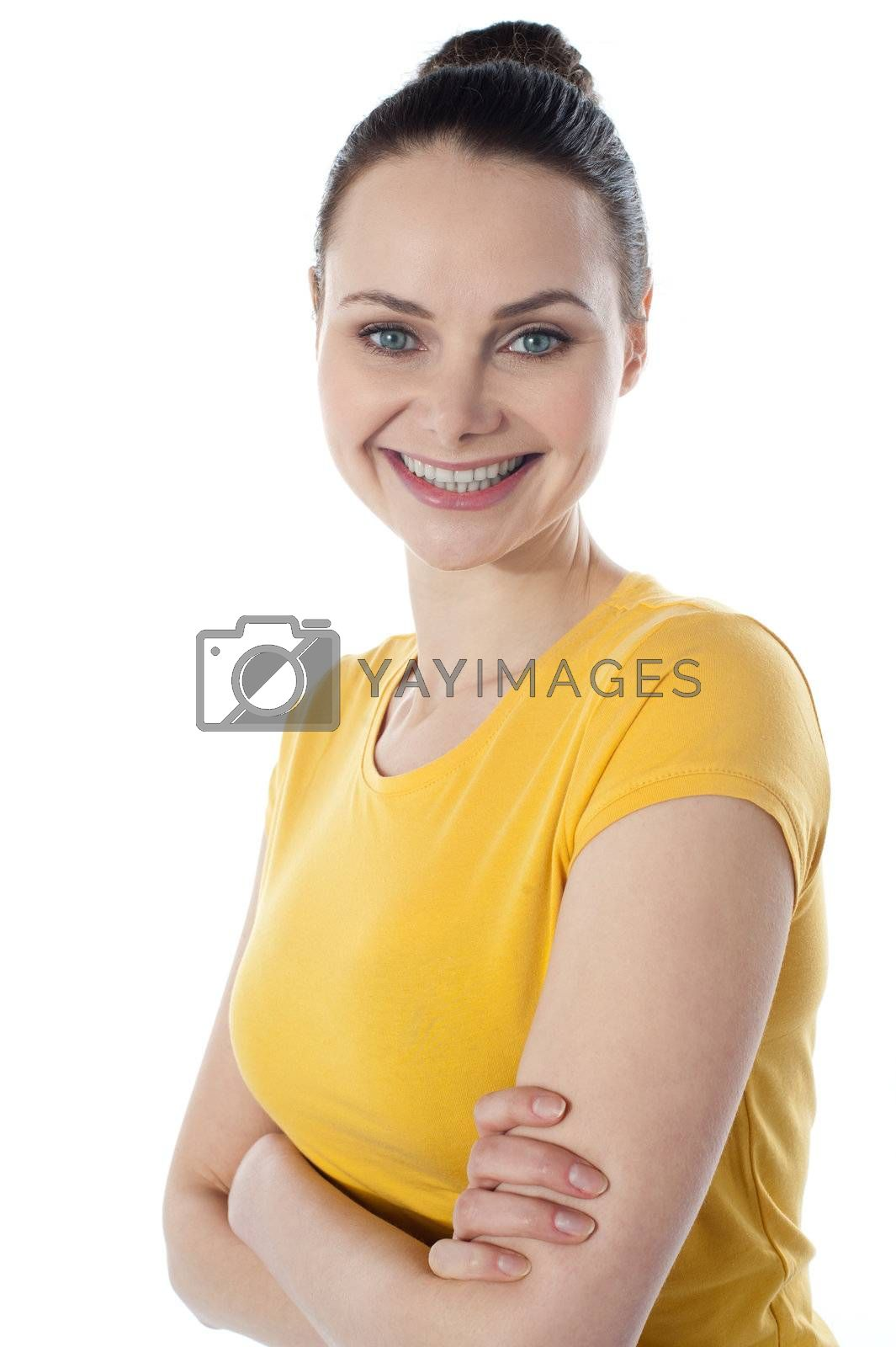 Skinny amarican teenager posing with folded arms isolated on white