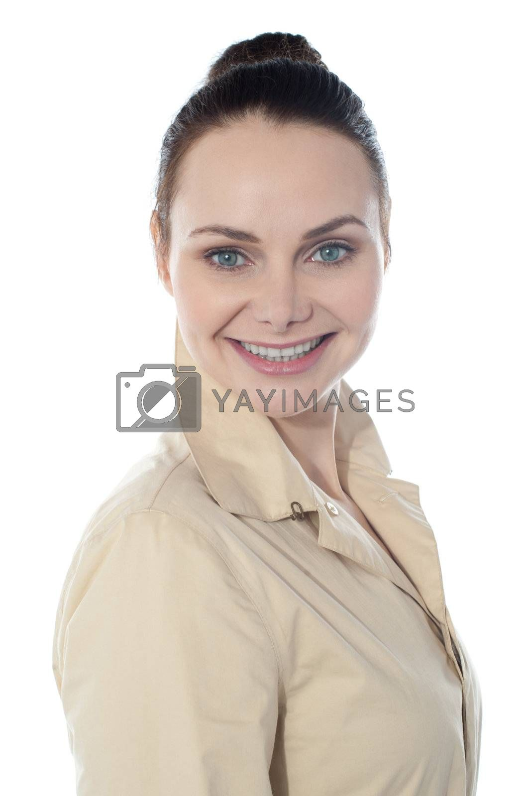 Close-up portrait of sexy caucasian young woman. Isolated on white