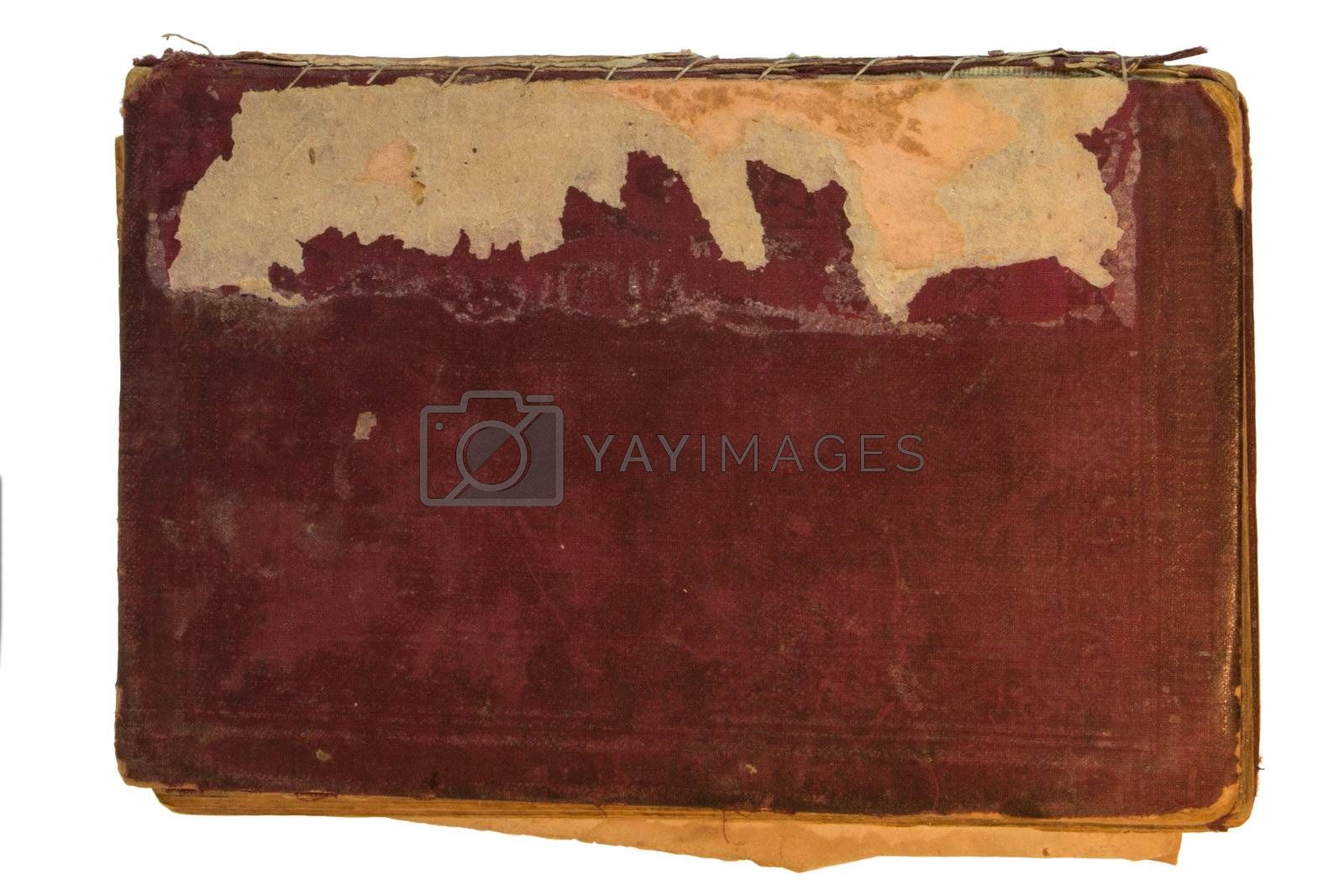 Old red textile cover of hand-written book isolated on white background