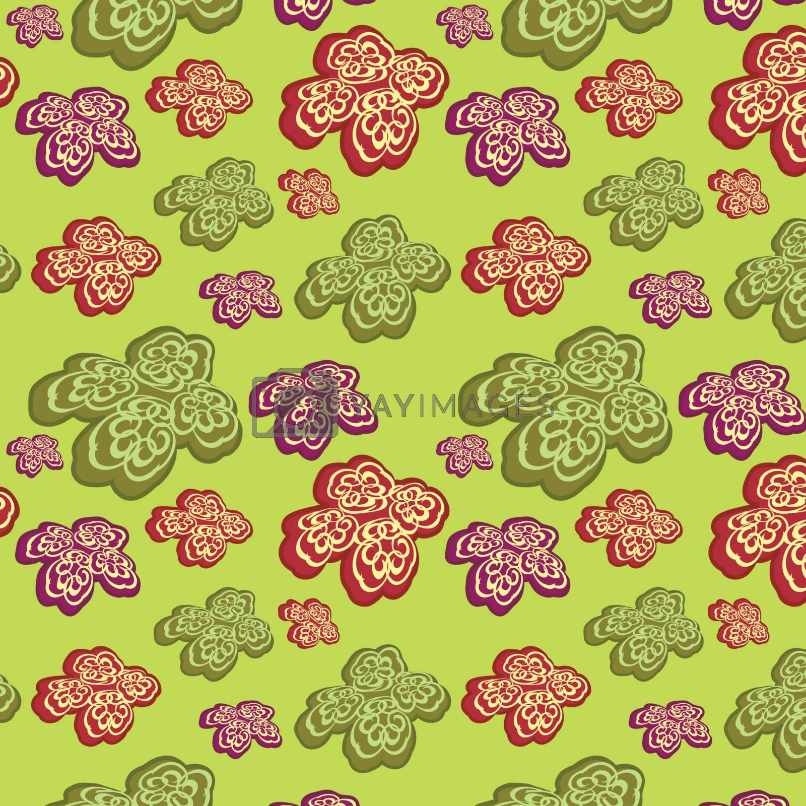 Green seamless background with abstract flowers, vector, illustration