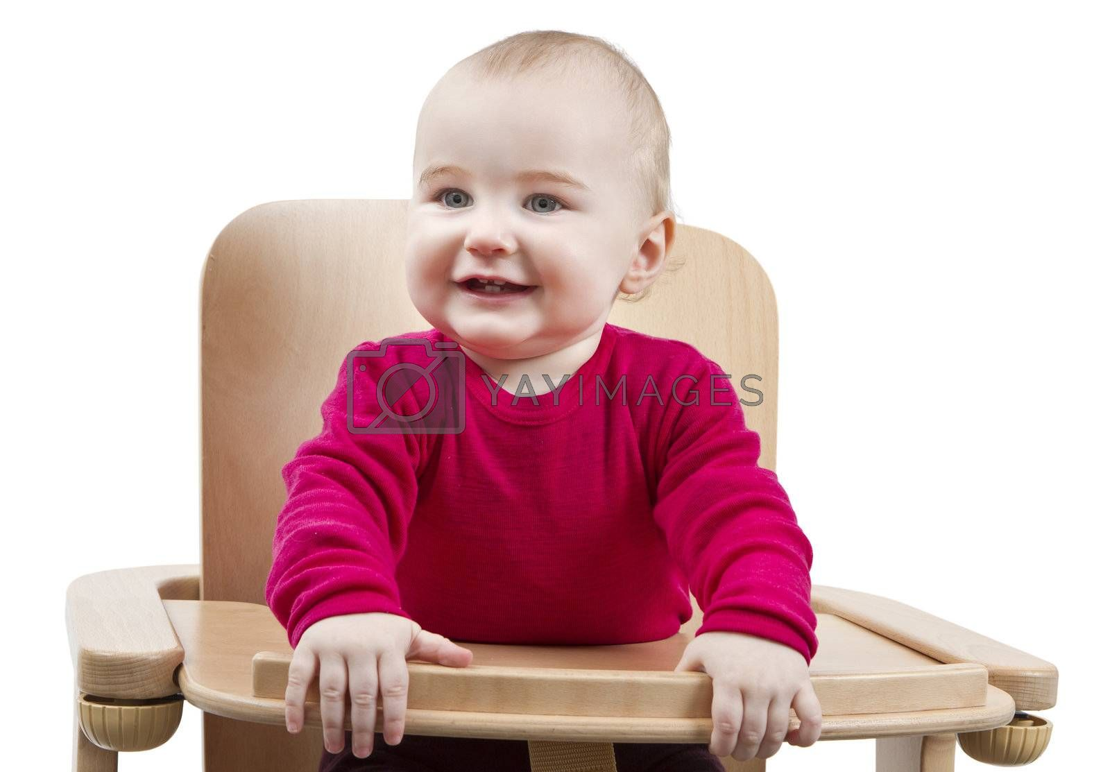 young child in red shirt sitting in wooden chair. Isolated on white background