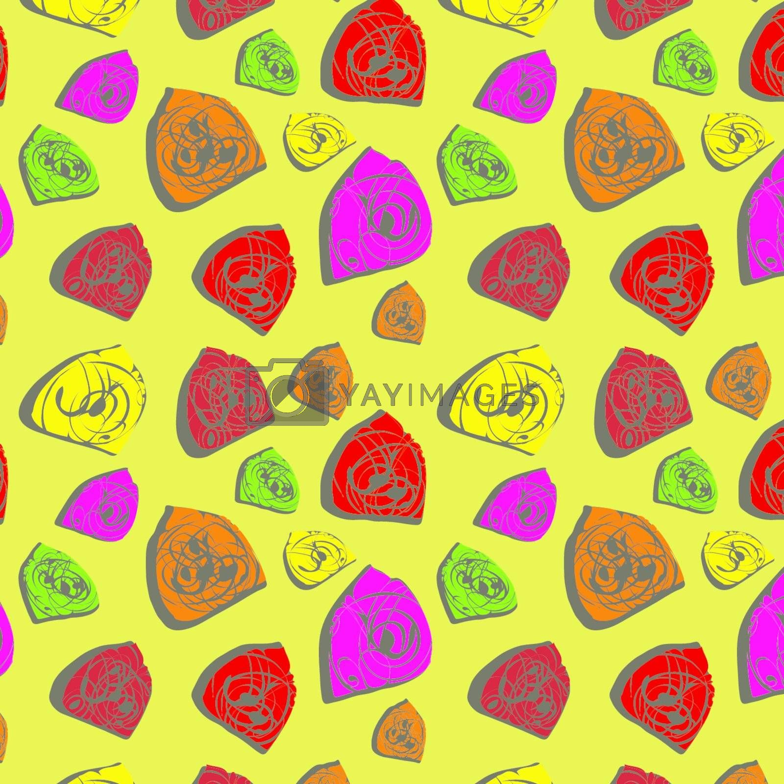 Seamless background with varicoloured bright elements, vector, illustration