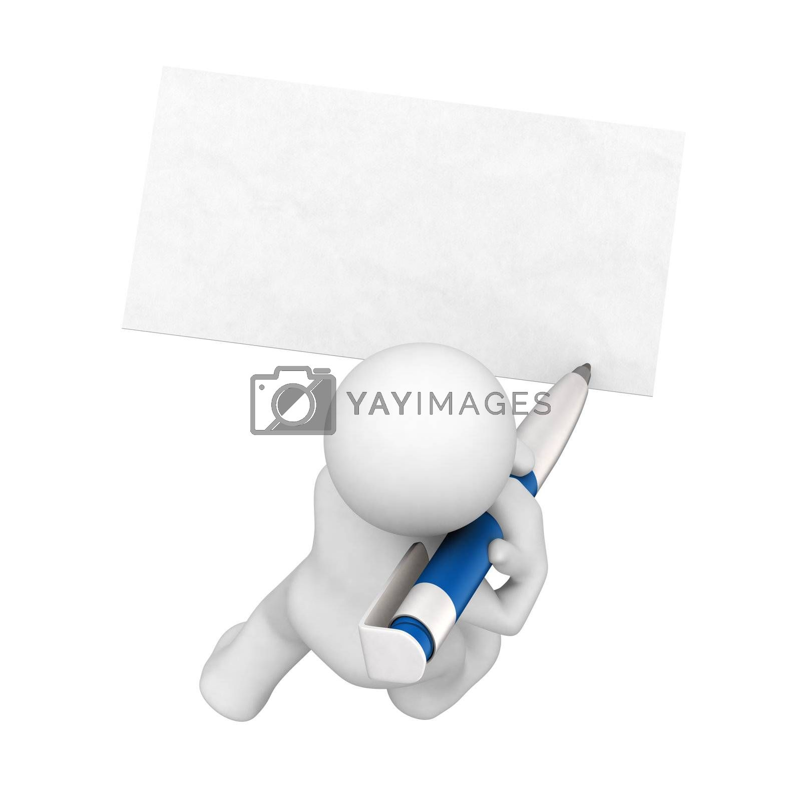 3d abstract human write with big pencil in blank card