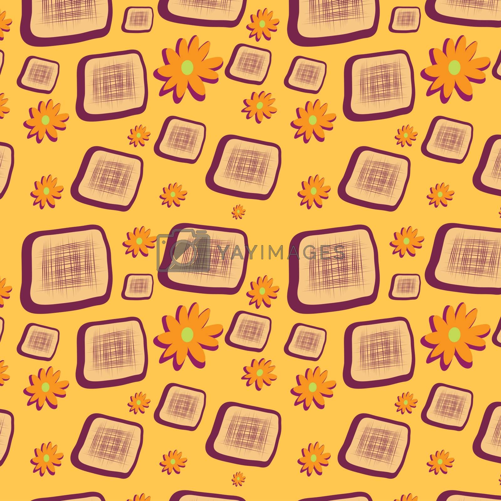 Seamless background with squares and flowers, vector, illustration