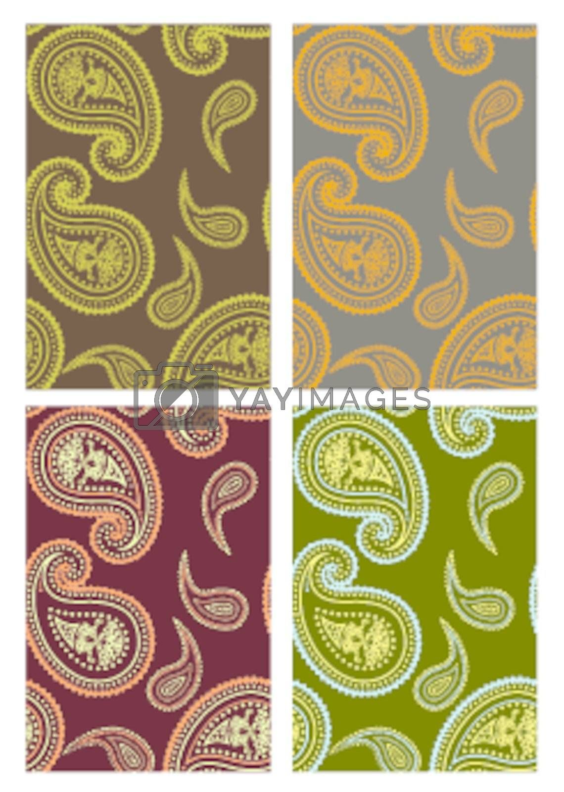 Set of vector seamless paisley backgrounds by Elisanth