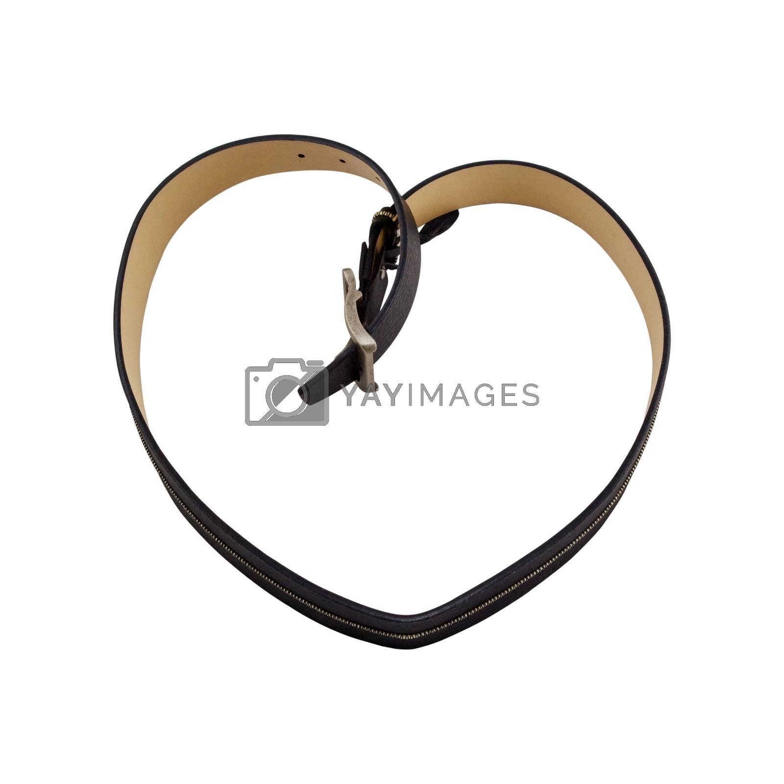 black heart belt isolated on the white background