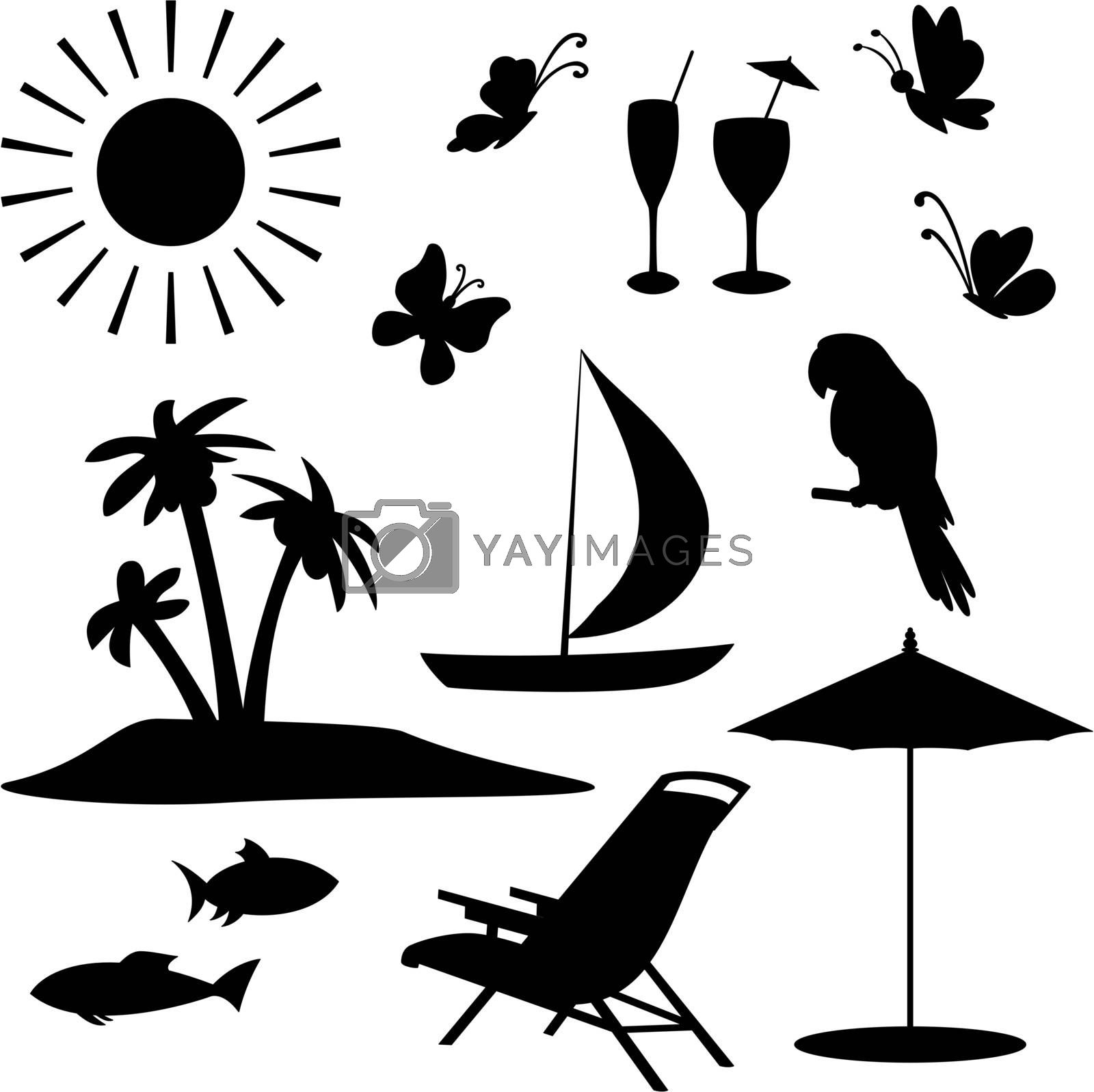 Set objects represent summer, exotic and a beach. Black contour on white background. Vector