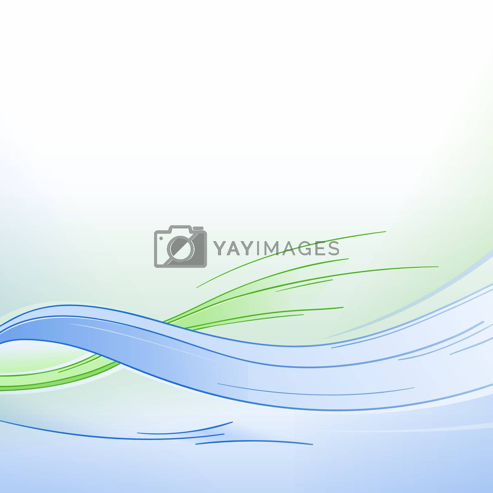 Fresh Green and Blue conceptual wavy background