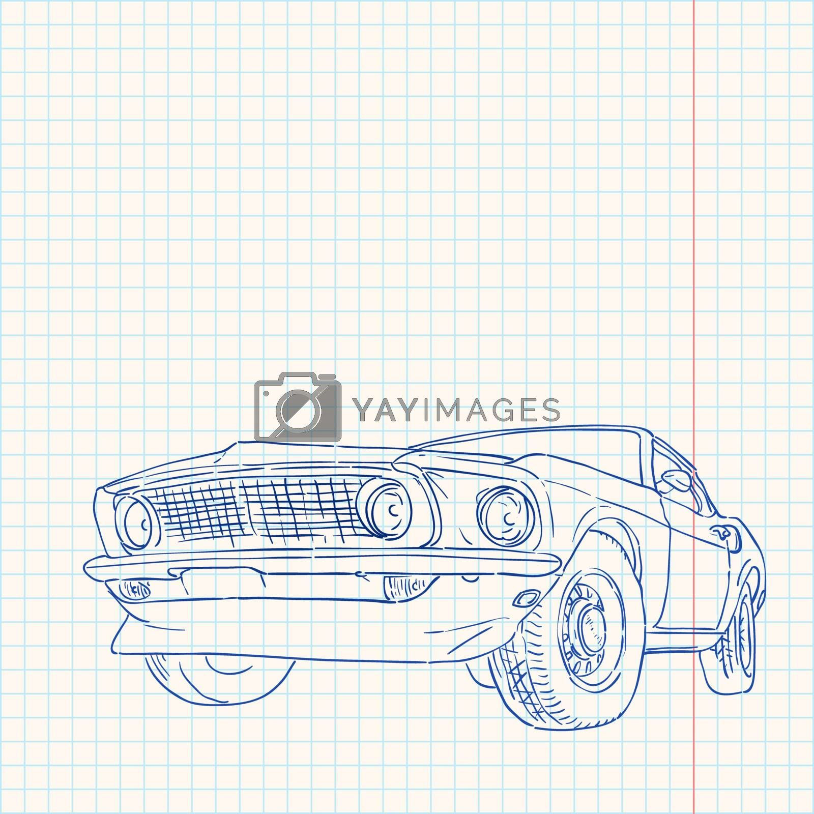 Notebook paper with blue lines and muscle car illustration