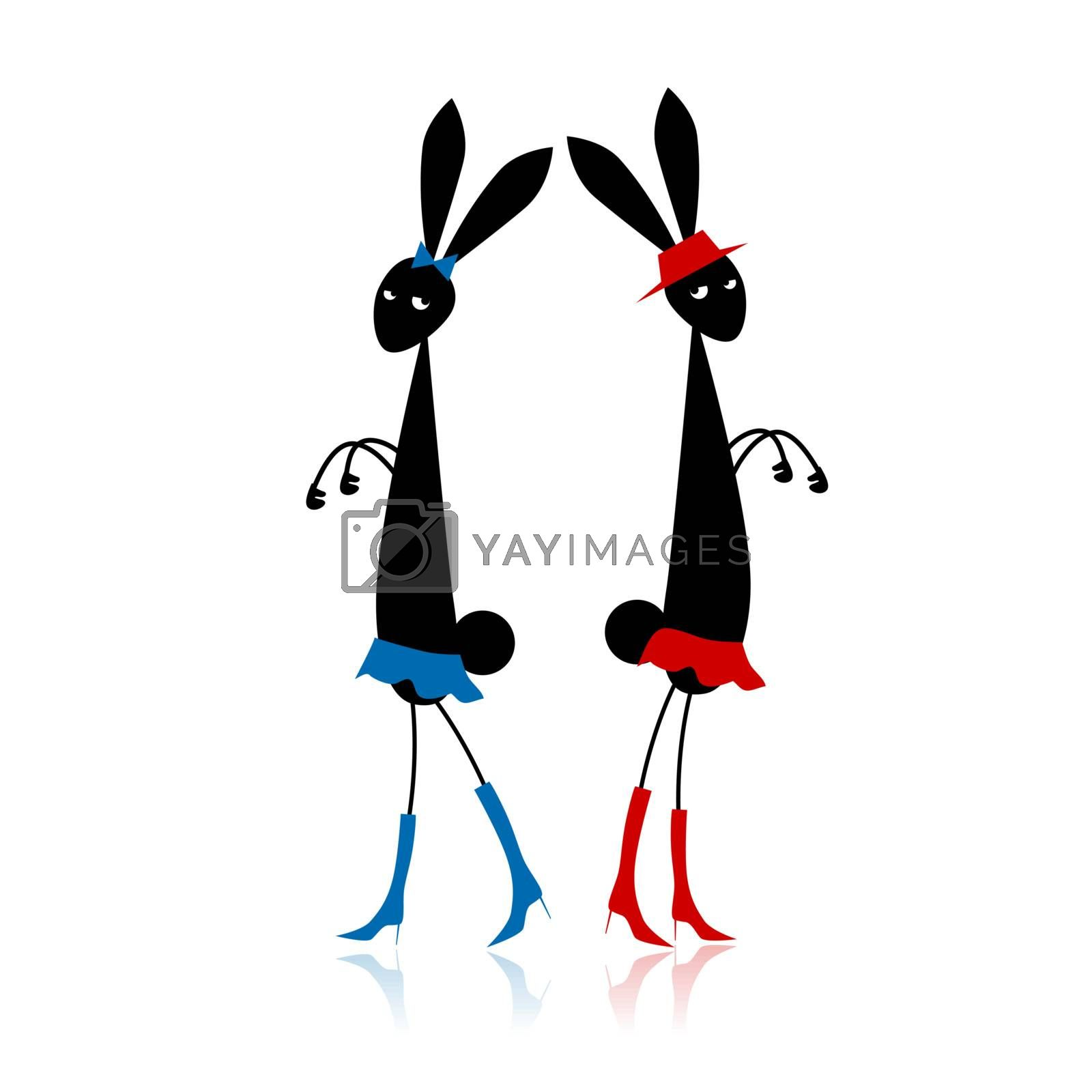 Two fashion rabbits for your design