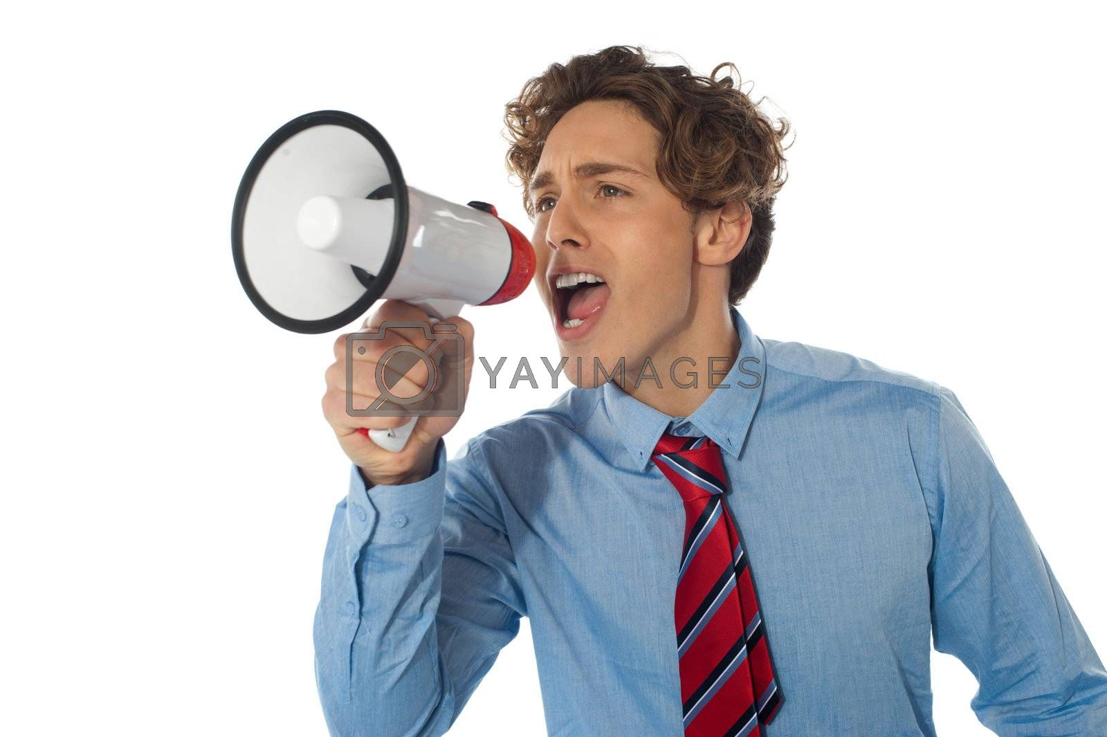 Businessman with megaphone isolated over white background